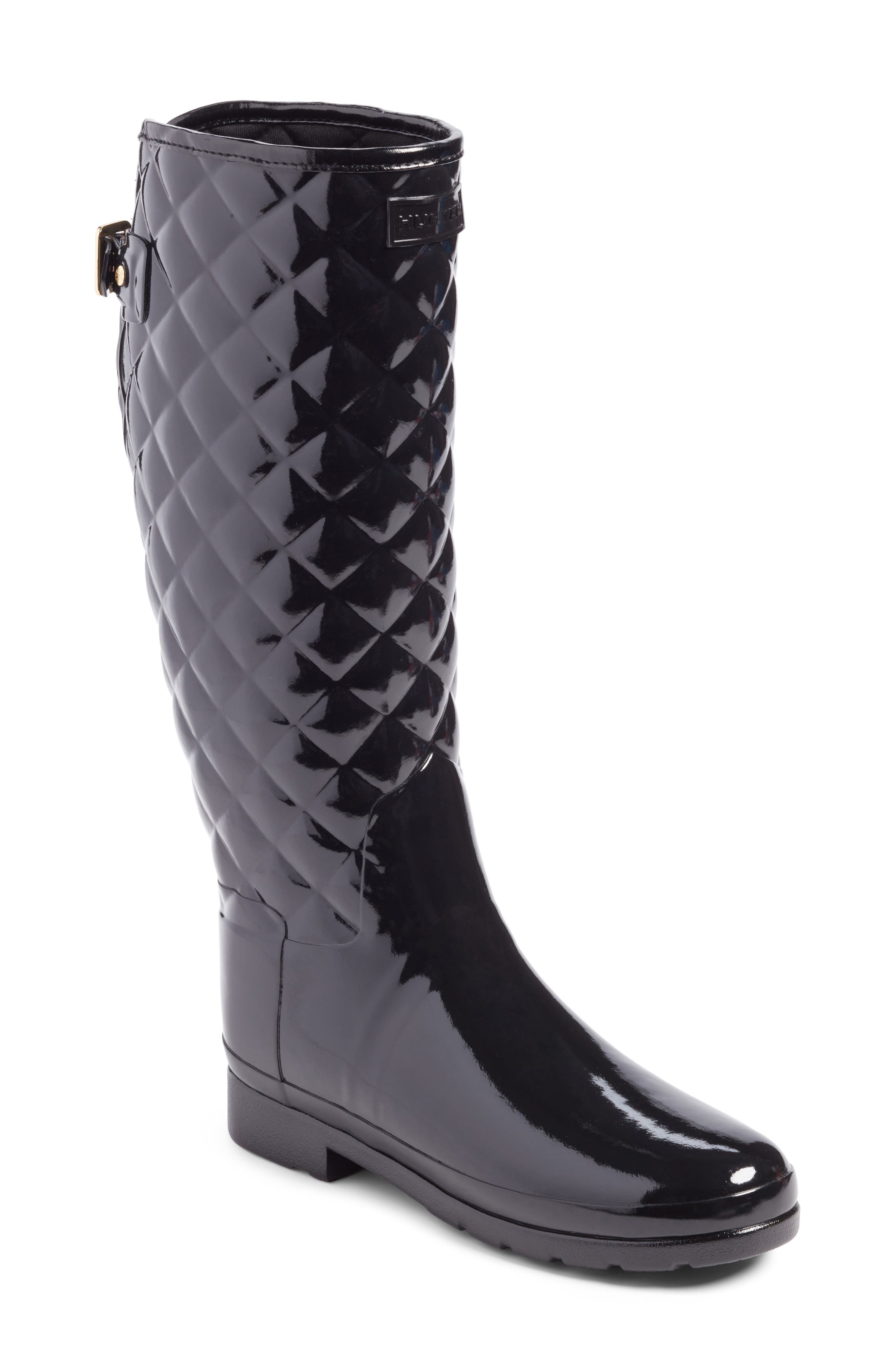 HUNTER, Original Refined High Gloss Quilted Waterproof Rain Boot, Main thumbnail 1, color, BLACK