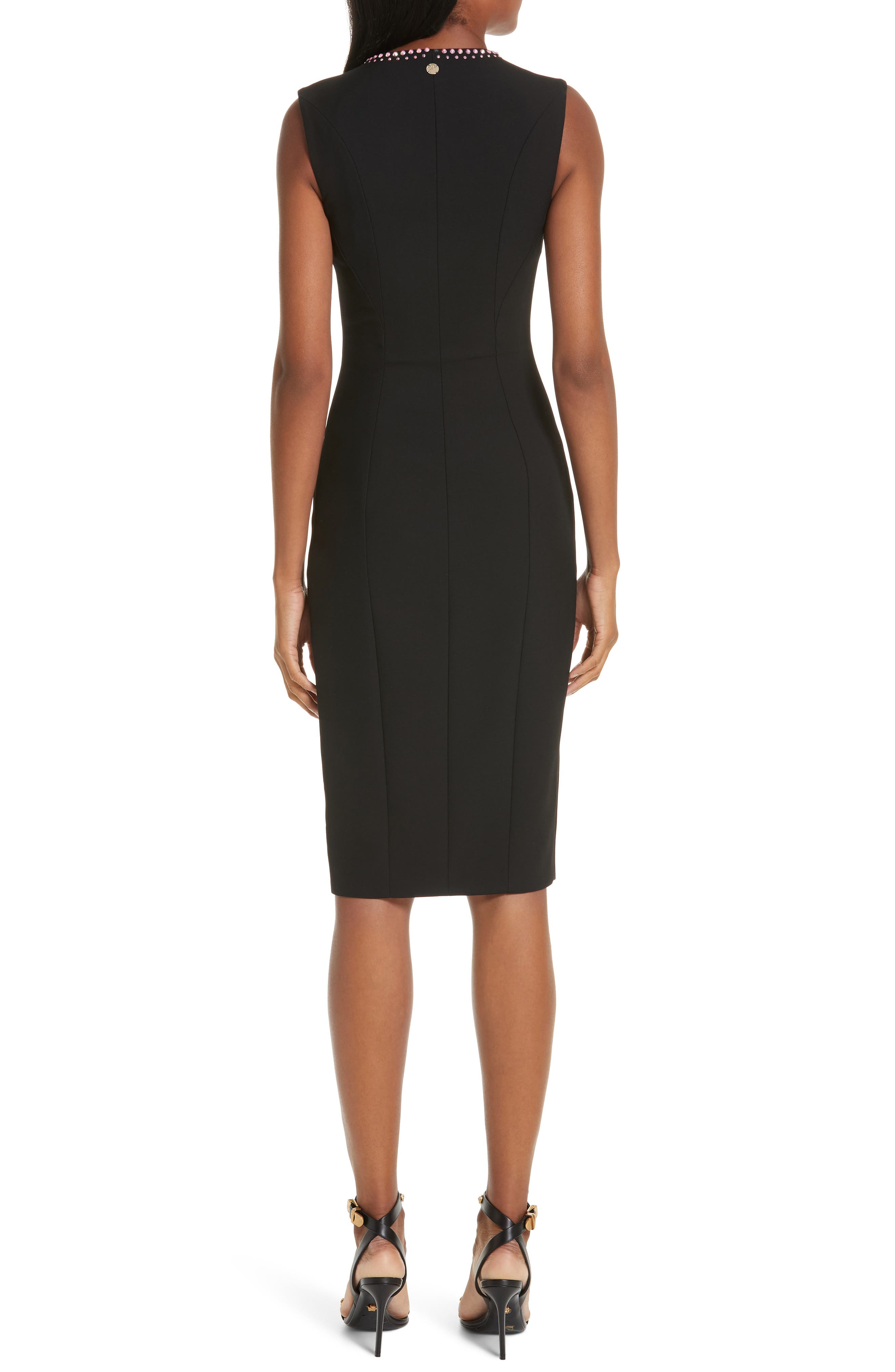 VERSACE COLLECTION, Crystal Embellished Zip Front Dress, Alternate thumbnail 2, color, BLACK