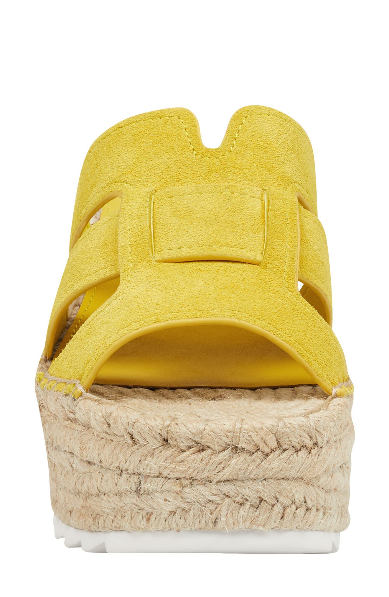 MARC FISHER LTD, Robbyn Espadrille Wedge Sandal, Alternate thumbnail 4, color, YELLOW SUEDE