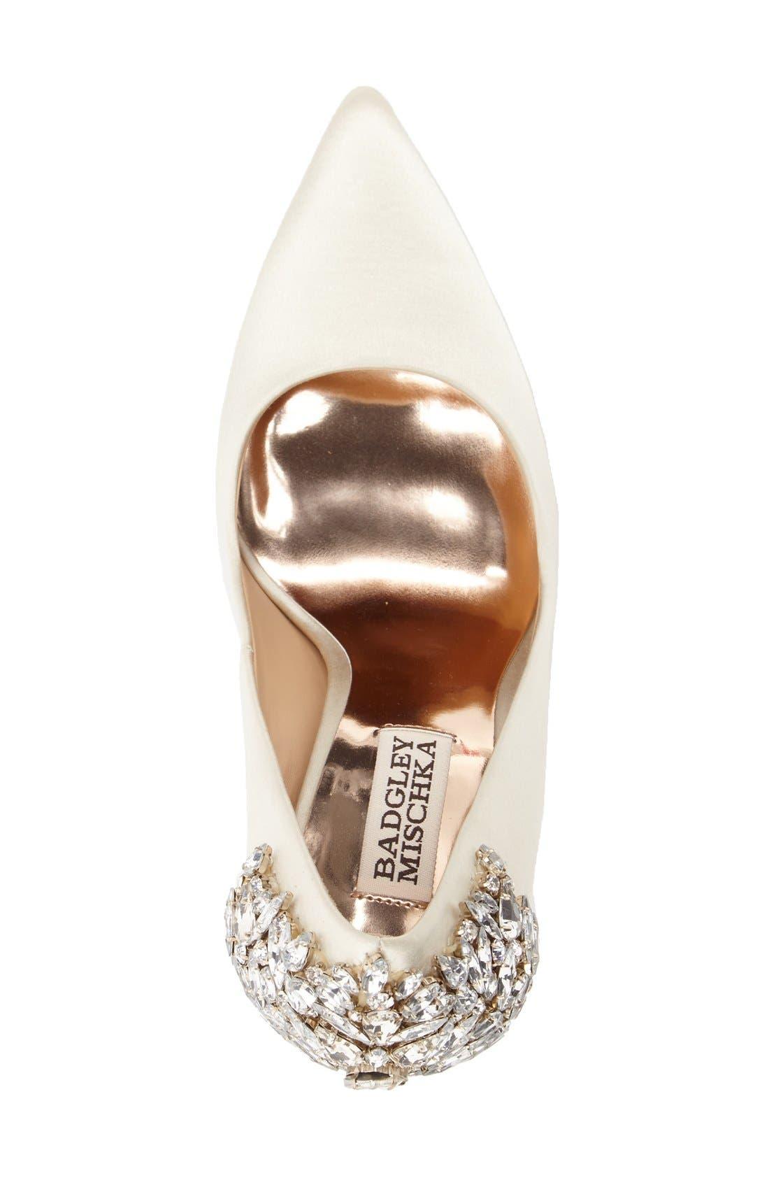 BADGLEY MISCHKA COLLECTION, Badgley Mischka 'Gorgeous' Crystal Embellished Pointy Toe Pump, Alternate thumbnail 3, color, IVORY SATIN