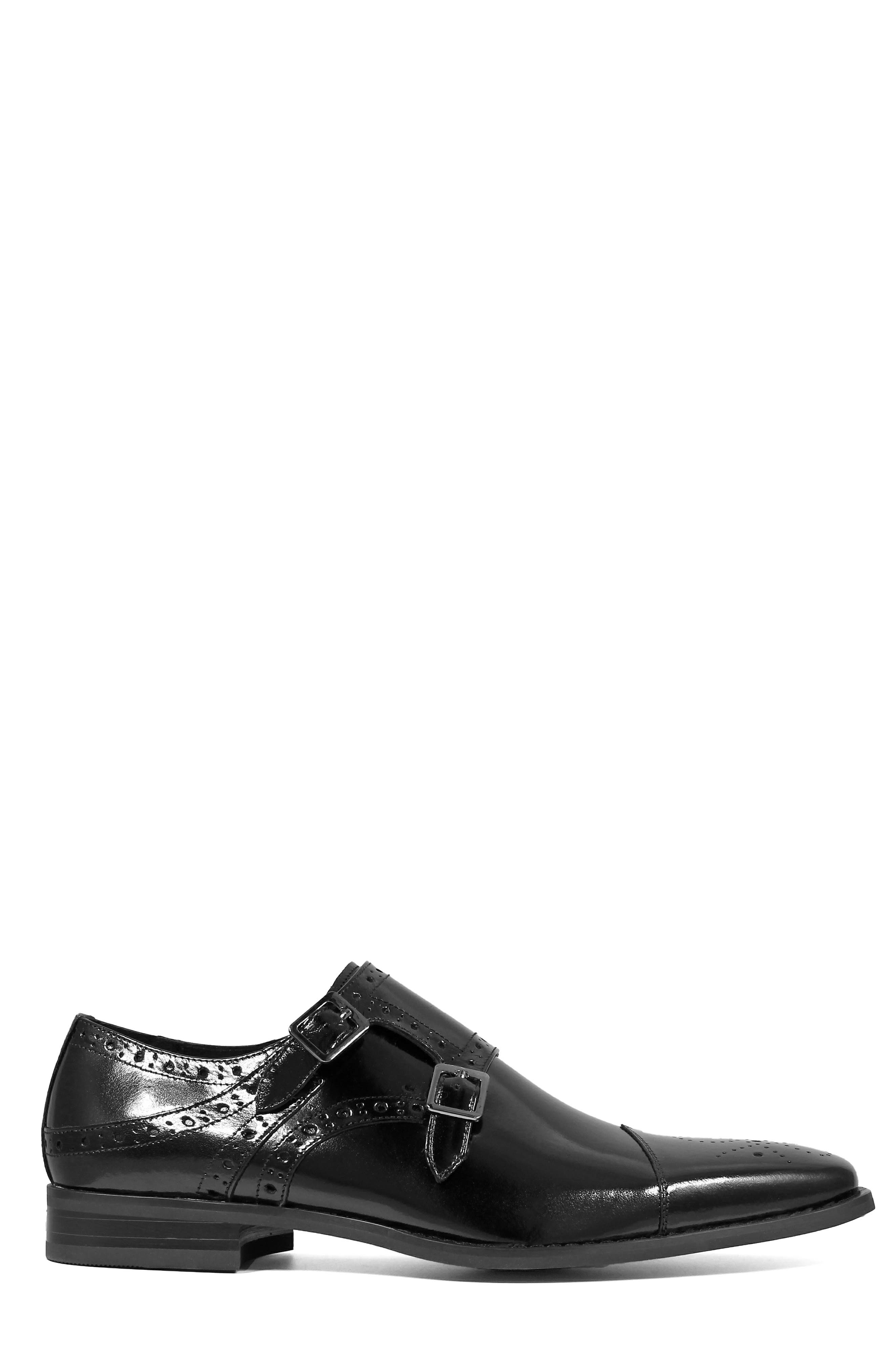 STACY ADAMS, Tayton Cap Toe Double Strap Monk Shoe, Alternate thumbnail 3, color, BLACK LEATHER