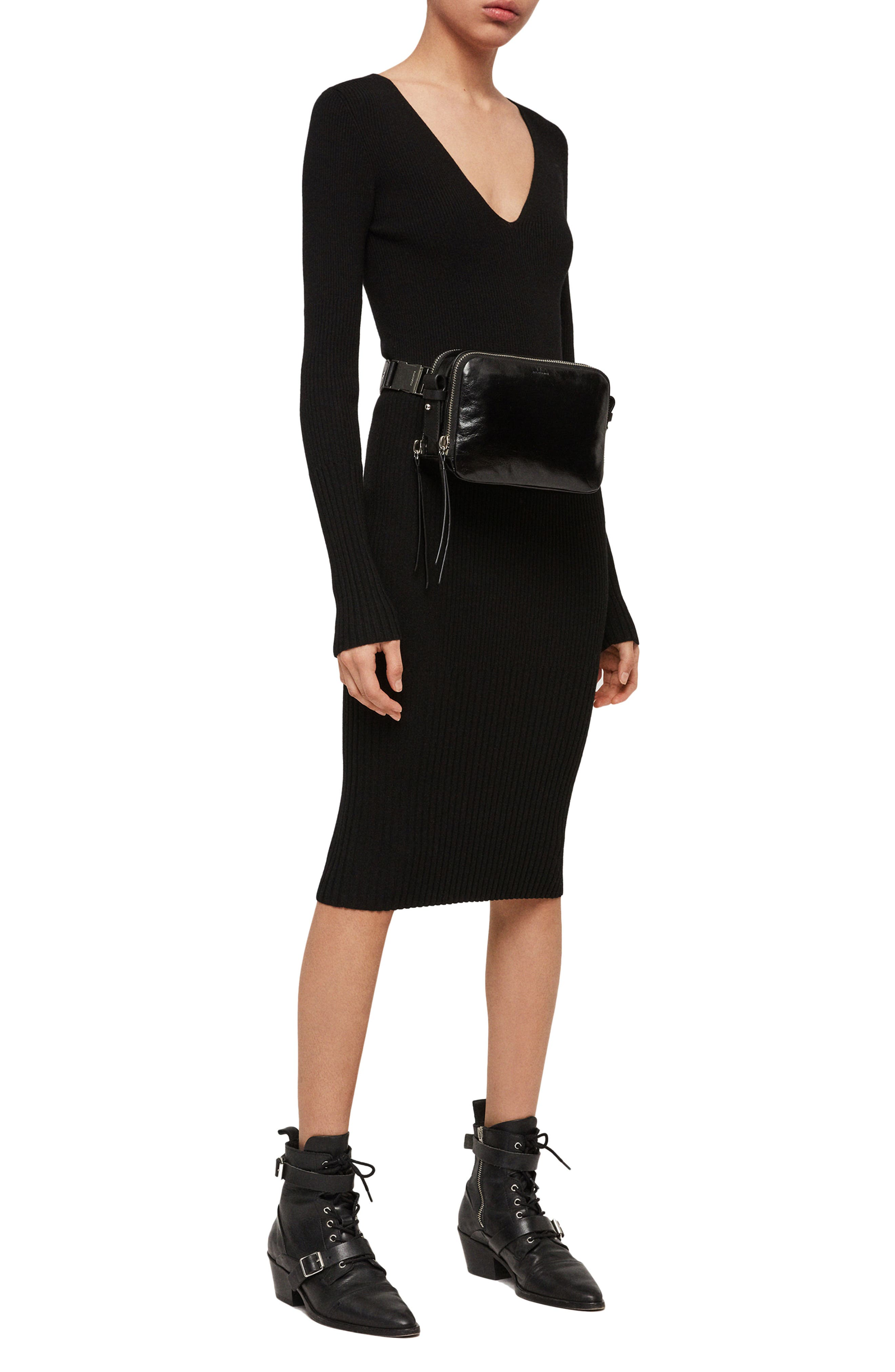 ALLSAINTS, Leather Belt Bag, Alternate thumbnail 2, color, 001