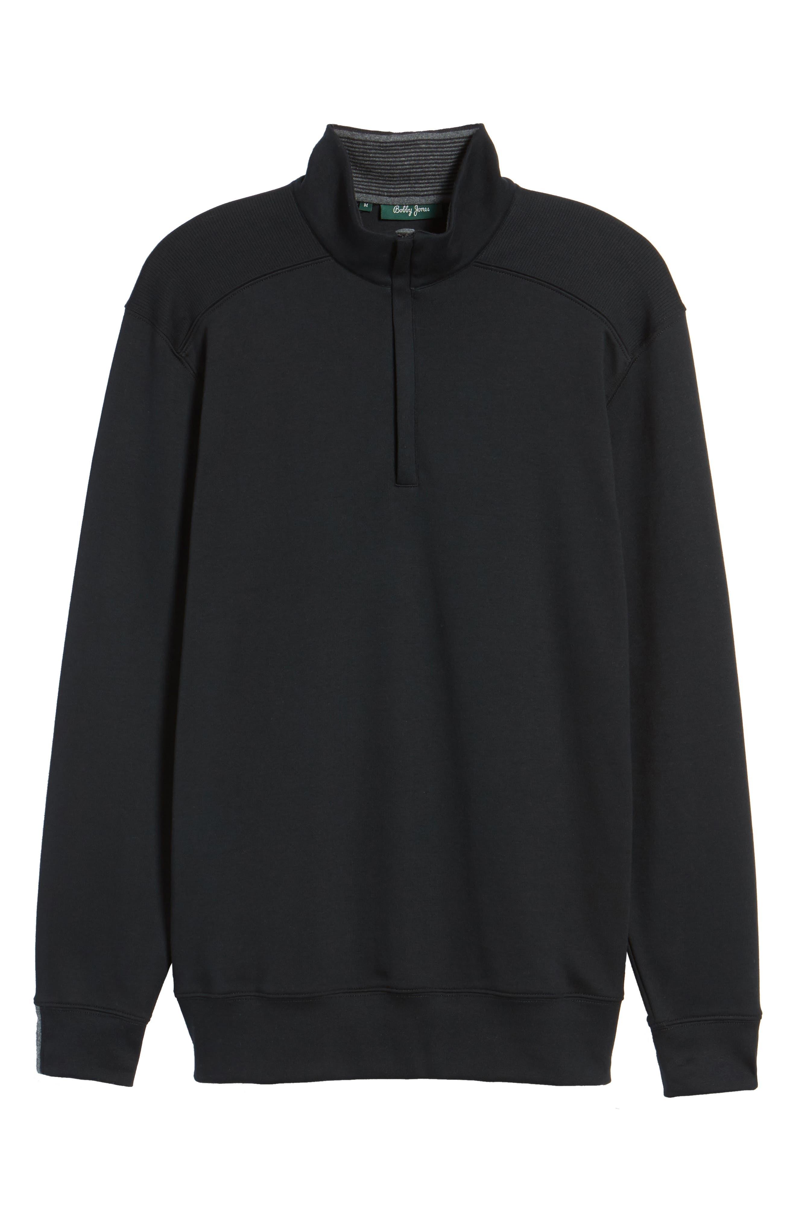 BOBBY JONES, 'New Leaderboard' Quarter Zip Pullover, Alternate thumbnail 6, color, BLACK