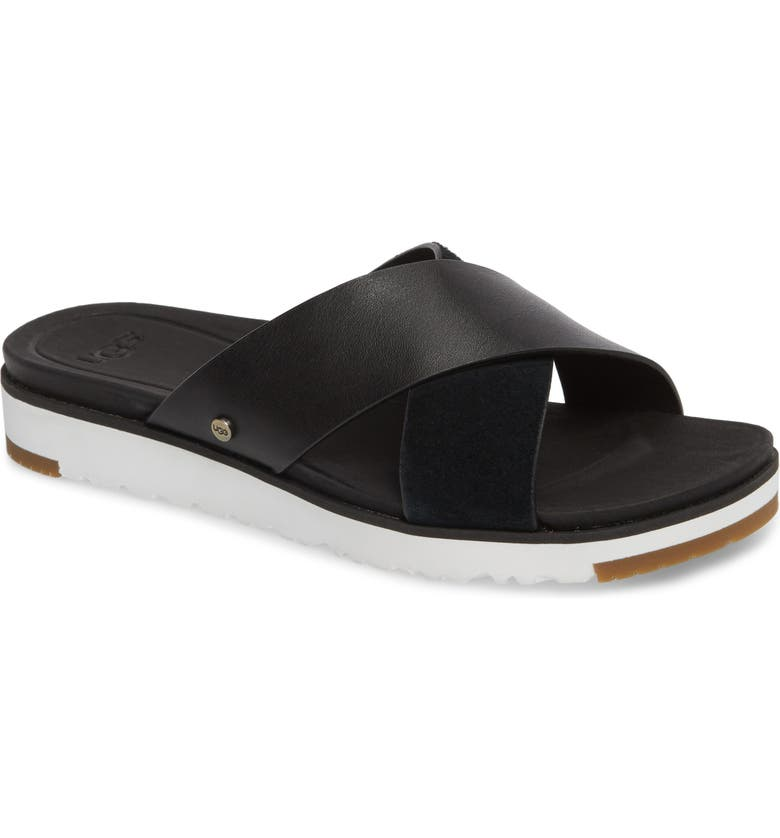01287c48848 Kari Leather/Suede Cross-Band Slide Sandal in Black