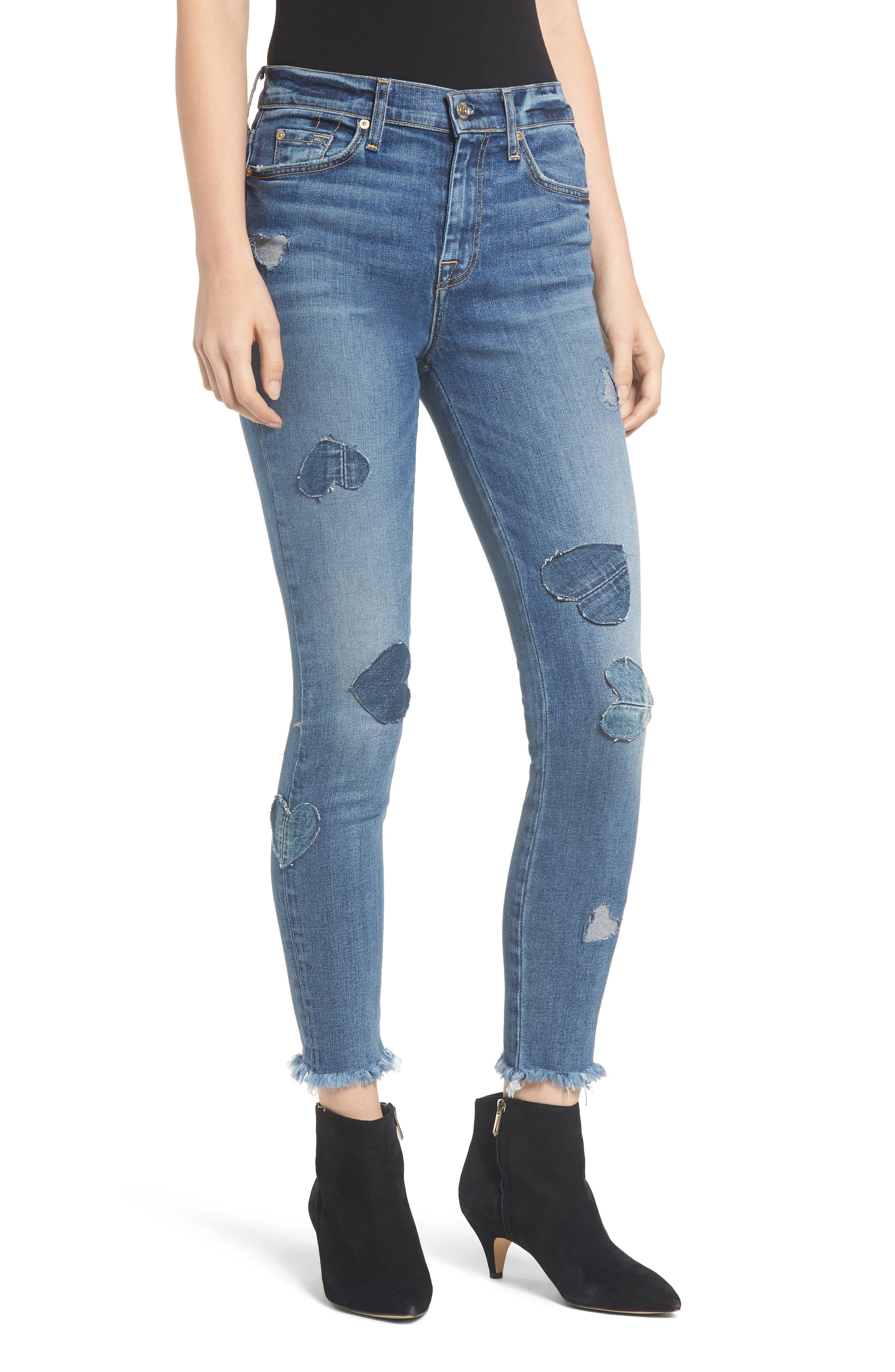 7 FOR ALL MANKIND<SUP>®</SUP> Heart Patch Ankle Skinny Jeans, Main, color, INDIGO SPRINGS
