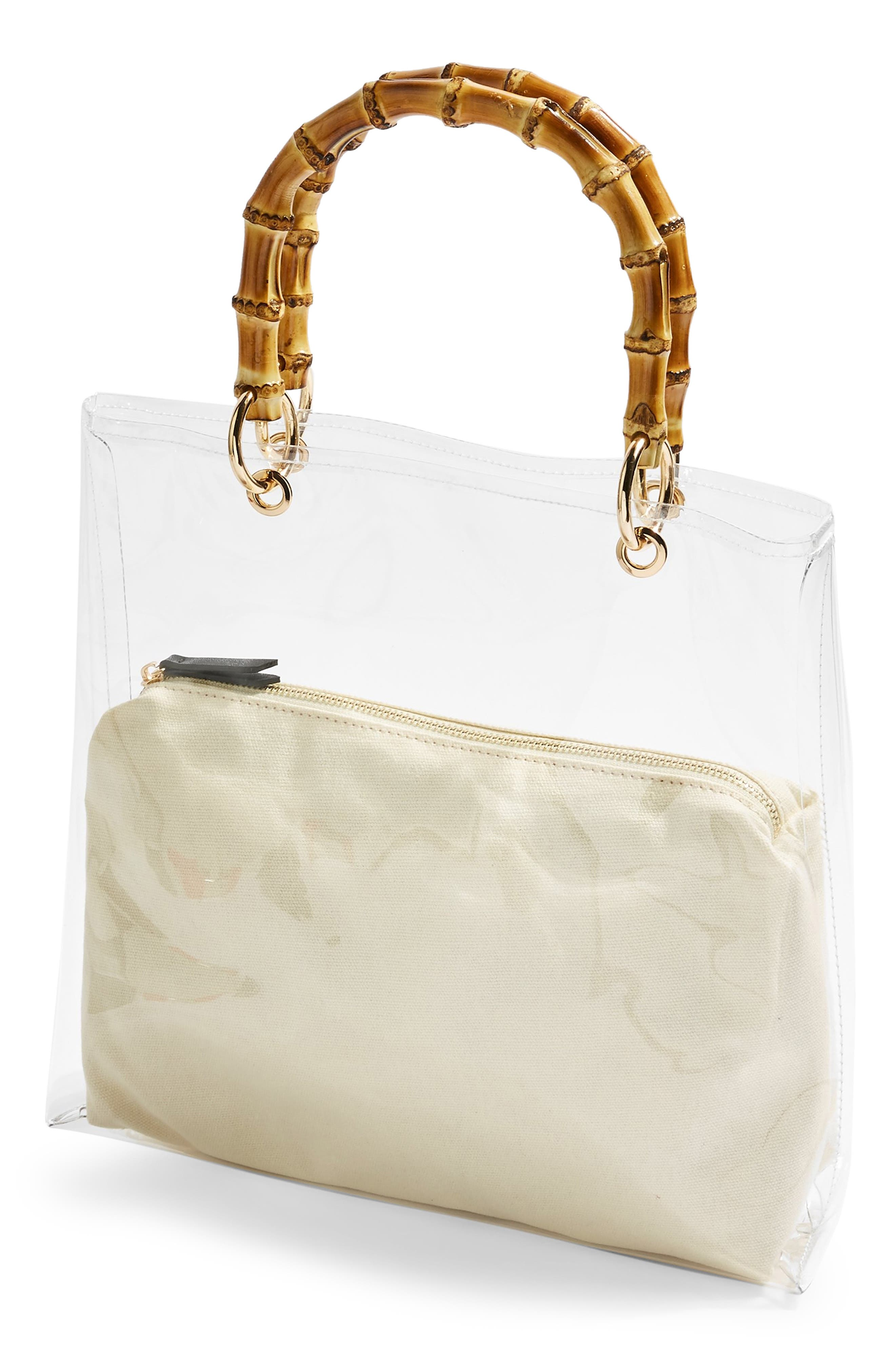 TOPSHOP, Mercy Top Handle Tote Bag, Alternate thumbnail 4, color, CLEAR
