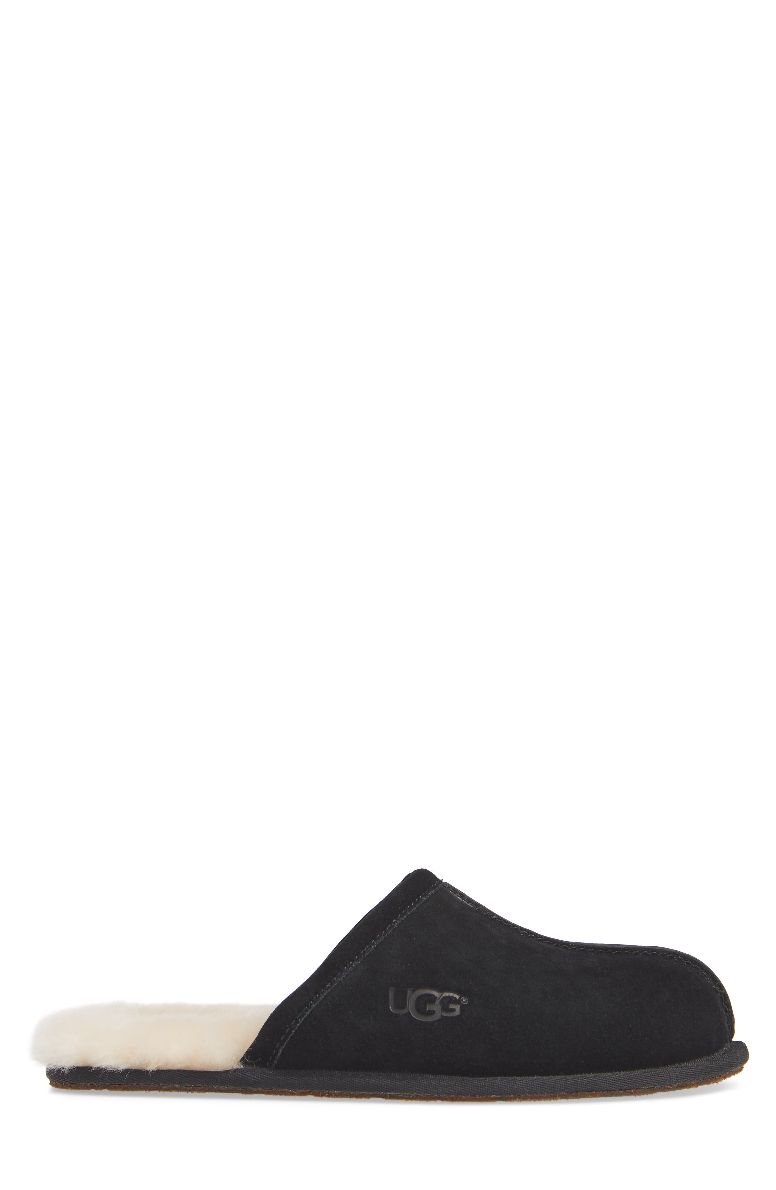 UGG<SUP>®</SUP>, Scuff Slipper, Alternate thumbnail 3, color, BLACK SUEDE