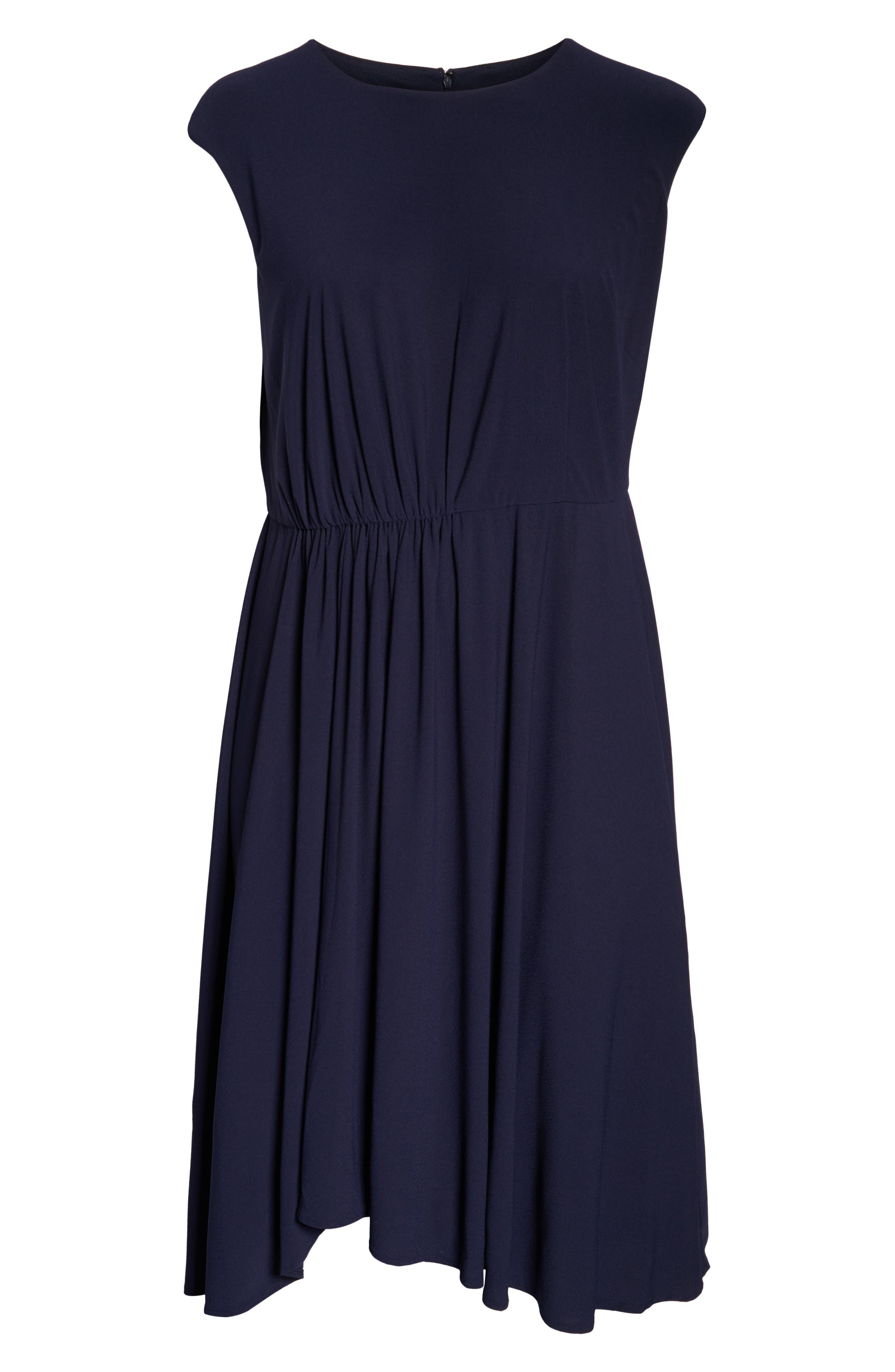 MAGGY LONDON, Crystal Side Drape Crepe Midi Dress, Alternate thumbnail 3, color, 460