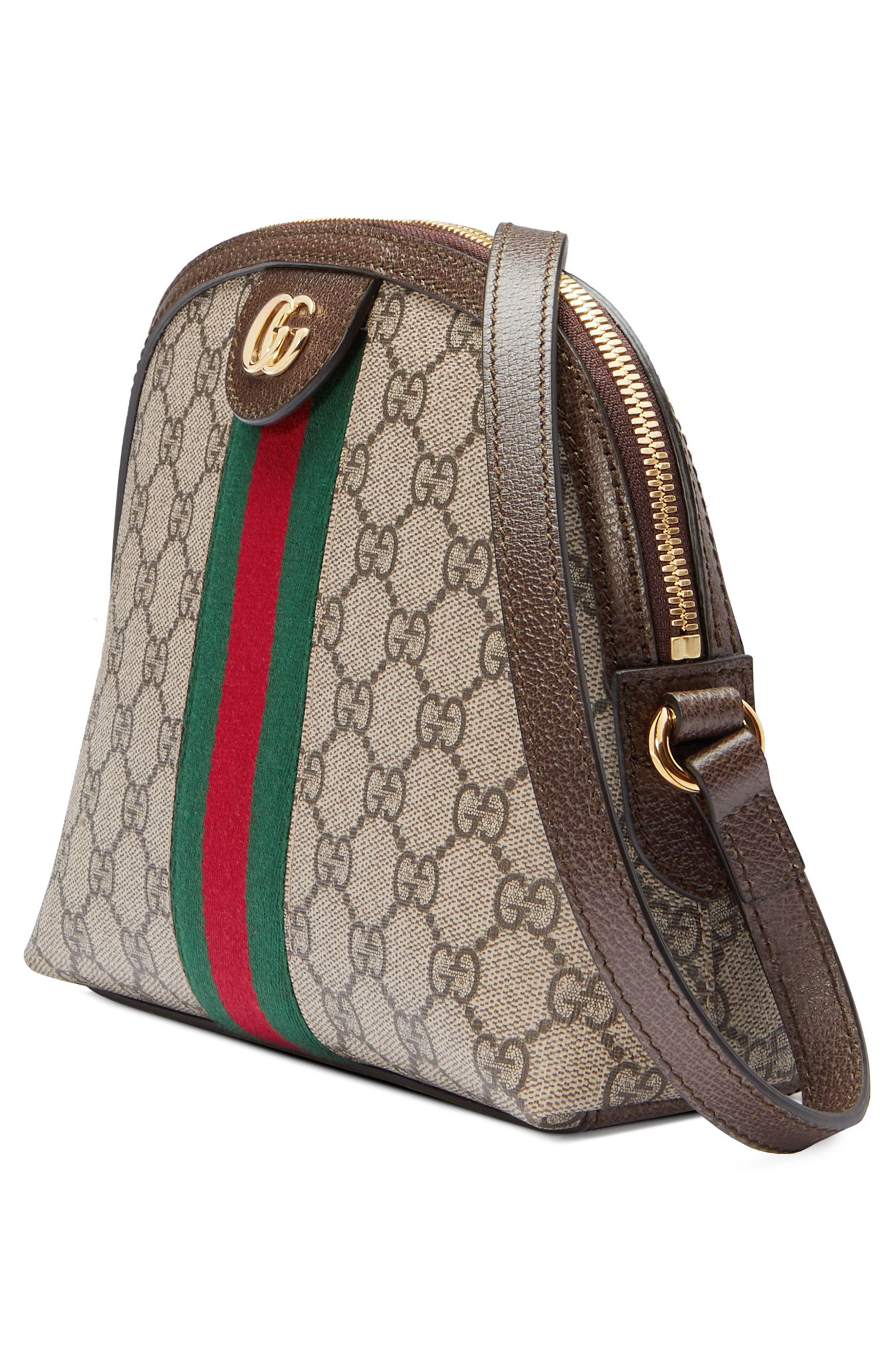 GUCCI, GG Supreme Canvas Shoulder Bag, Alternate thumbnail 5, color, BEIGE EBONY/ NERO/ RED