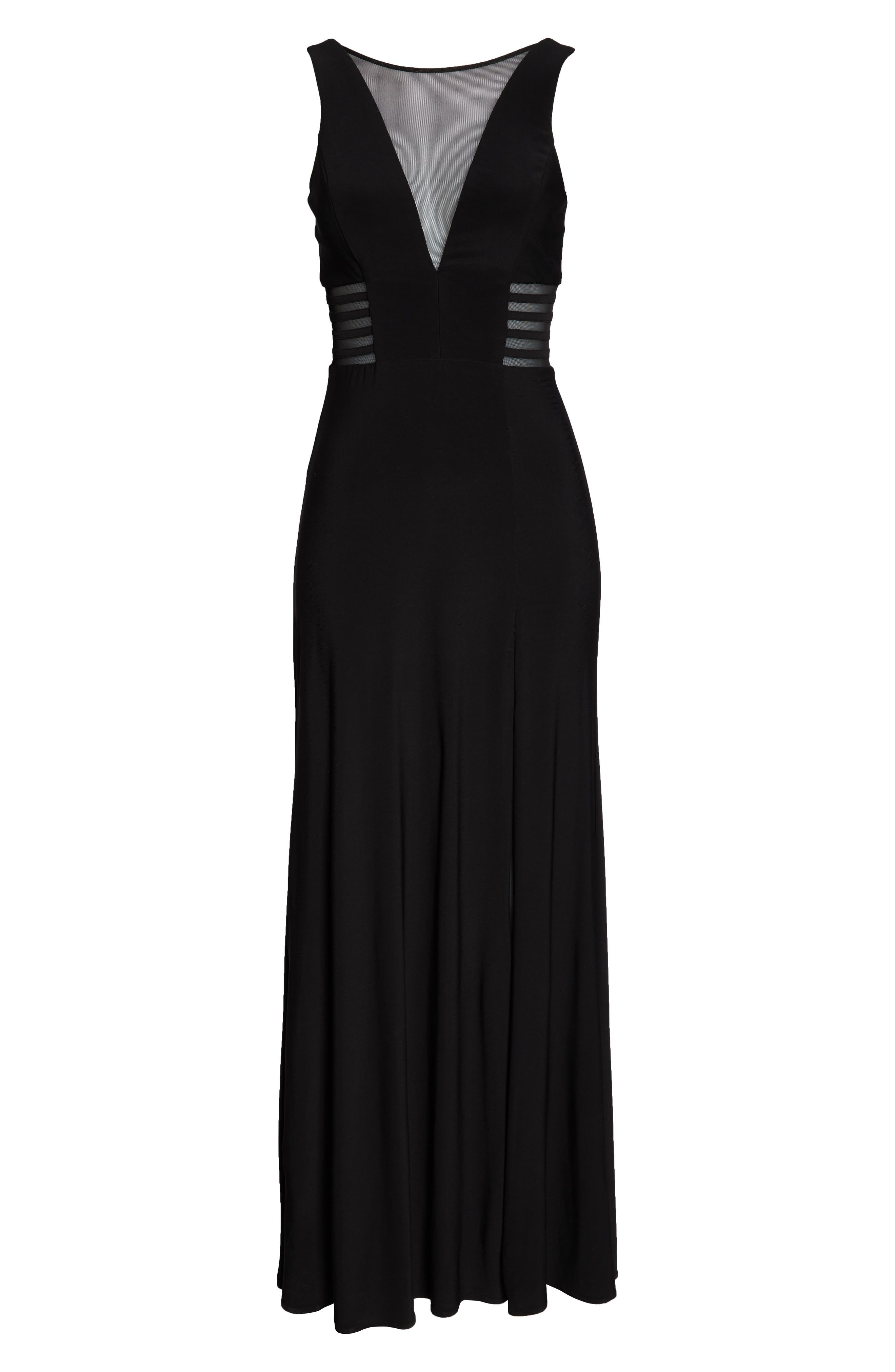 MORGAN & CO., Illusion Gown, Alternate thumbnail 6, color, BLACK