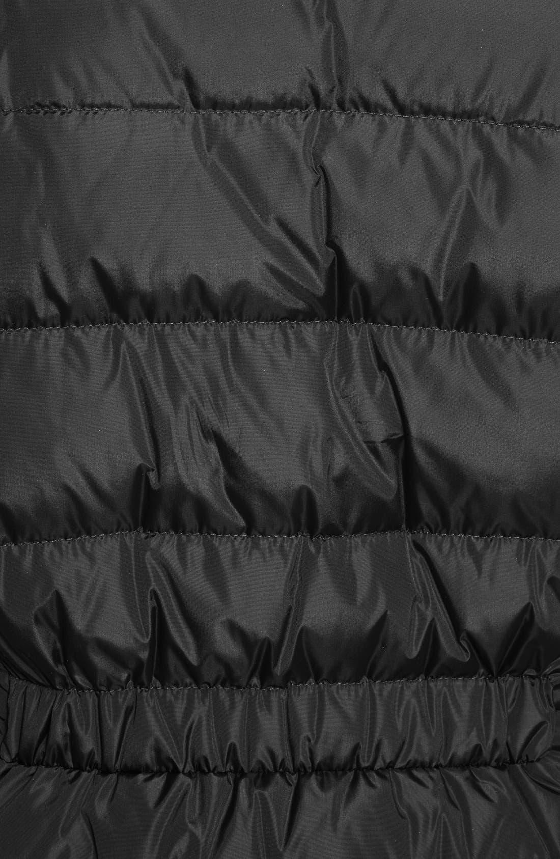 MONCLER, 'Flammette' Water Resistant Long Hooded Down Coat, Alternate thumbnail 8, color, BLK