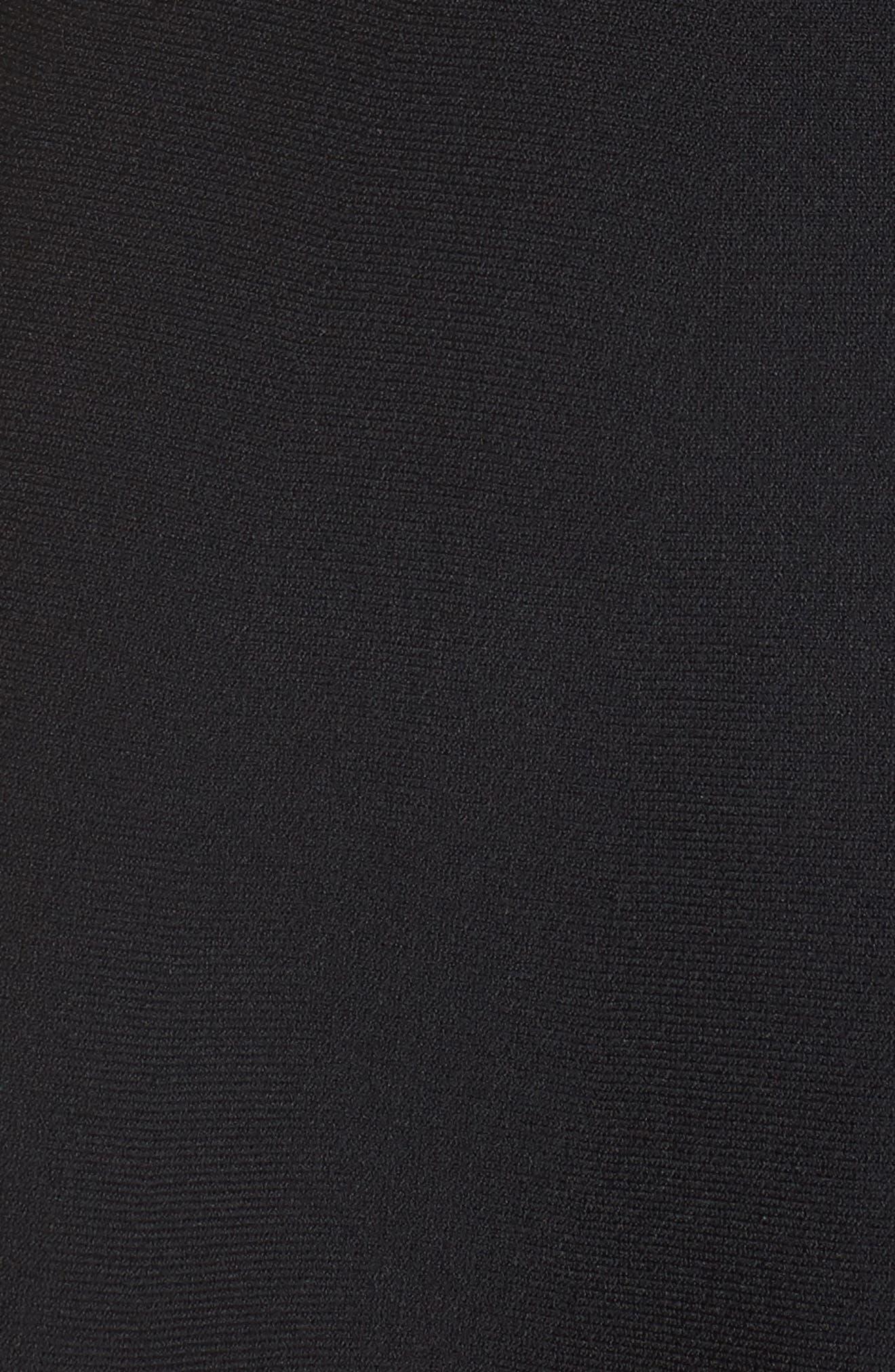 ELIZA J, Contrast Stripe Fit & Flare Dress, Alternate thumbnail 6, color, 001