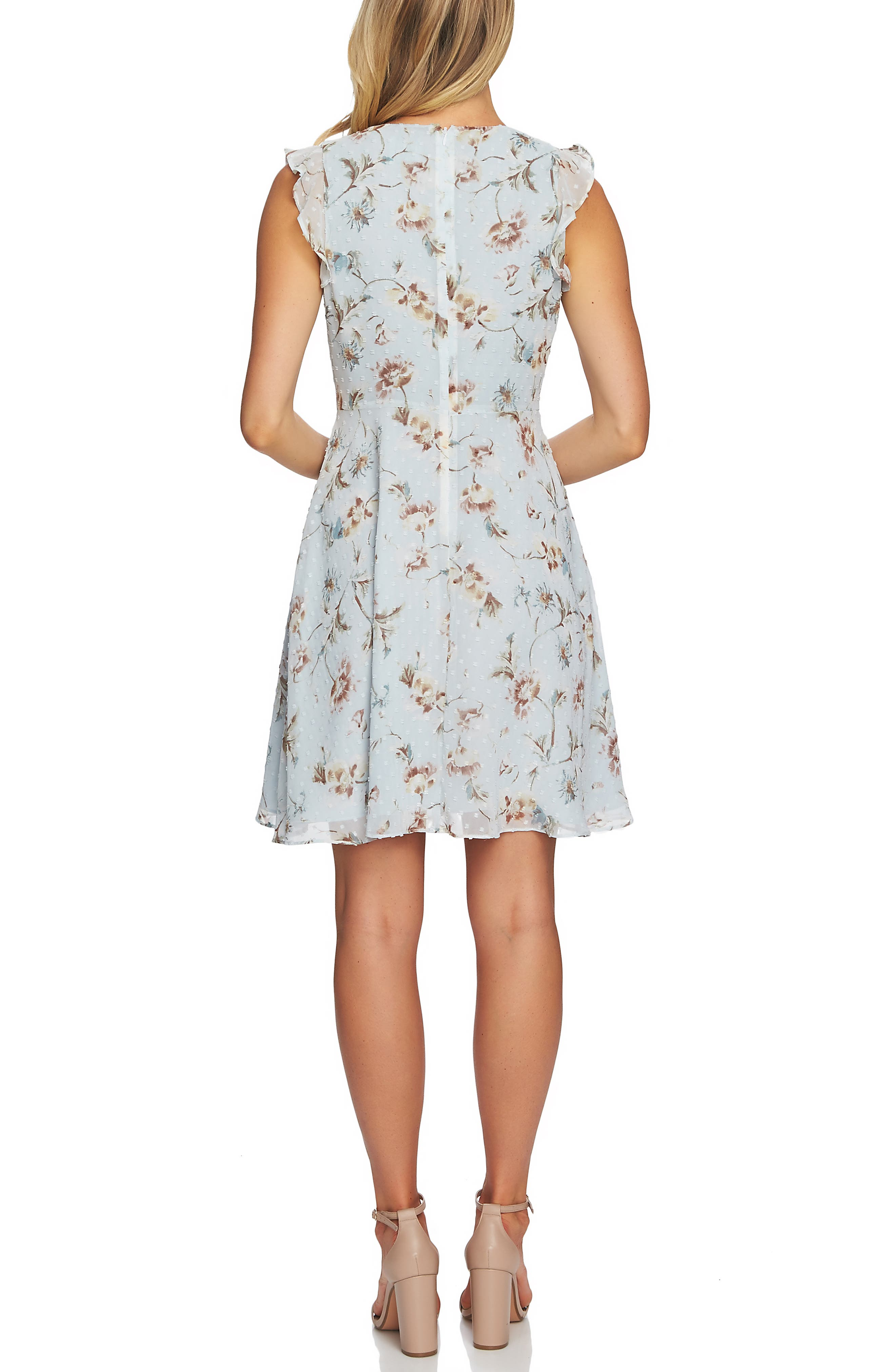 CECE, Duchess Floral Print Flutter Sleeve Dress, Alternate thumbnail 2, color, PEARL DROP