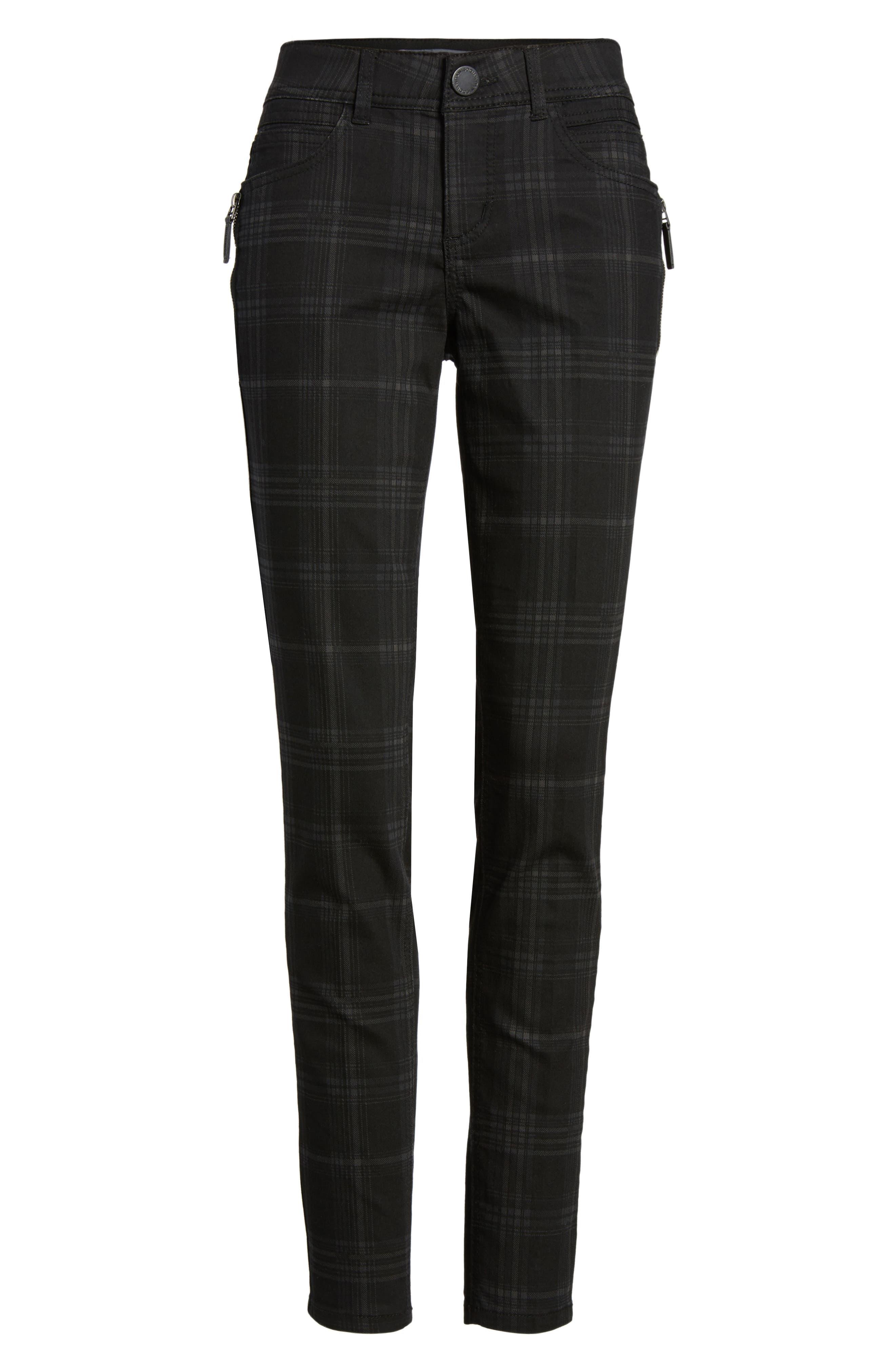 WIT & WISDOM, Ab-solution Side Zip Plaid Skinny Pants, Alternate thumbnail 7, color, BLACK