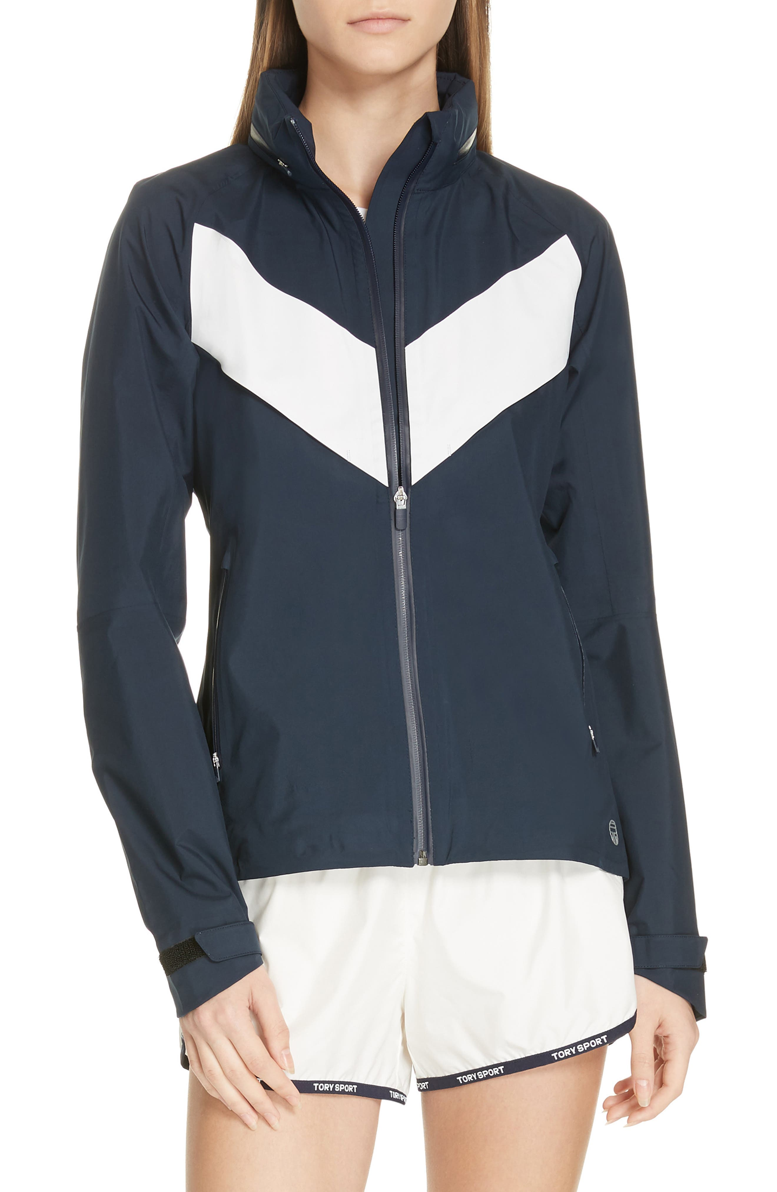 TORY SPORT, All Weather Run Jacket, Main thumbnail 1, color, TORY NAVY/ WHITE SNOW