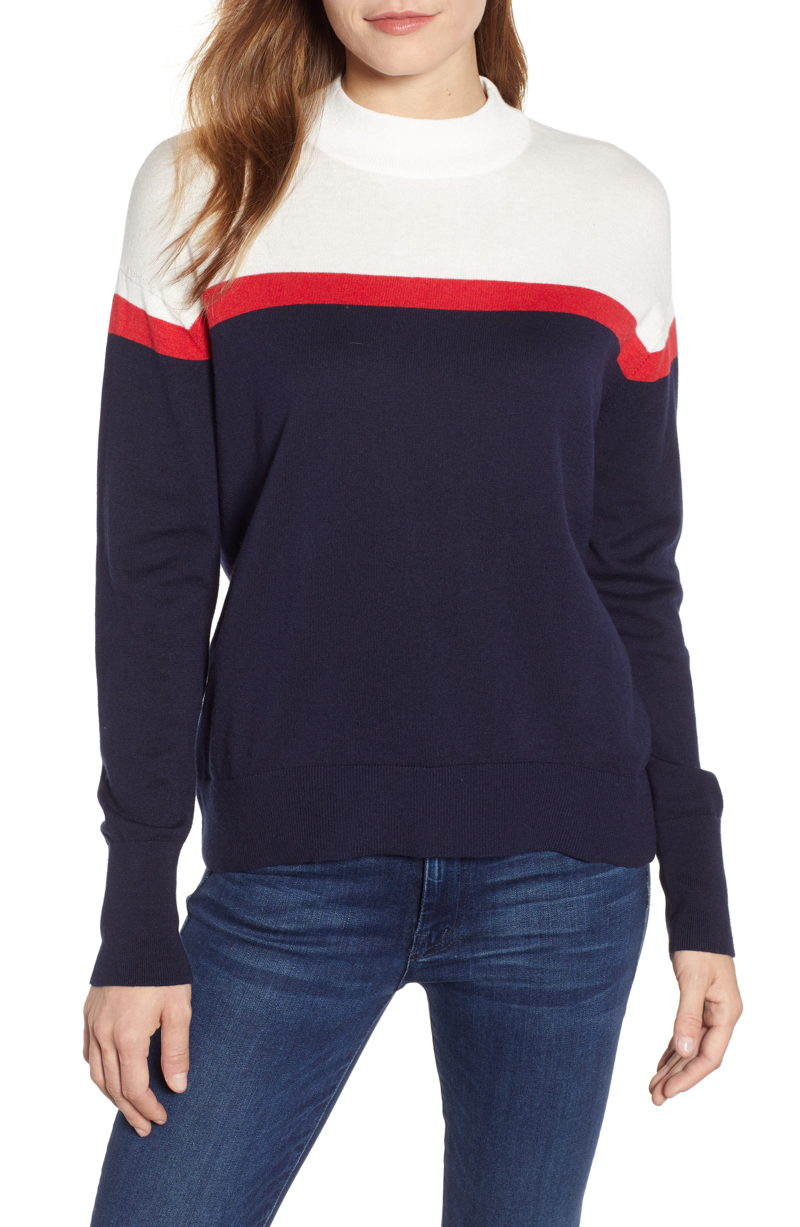 VELVET BY GRAHAM & SPENCER, Stripe Mock Neck Cotton & Cashmere Sweater, Main thumbnail 1, color, MULTI