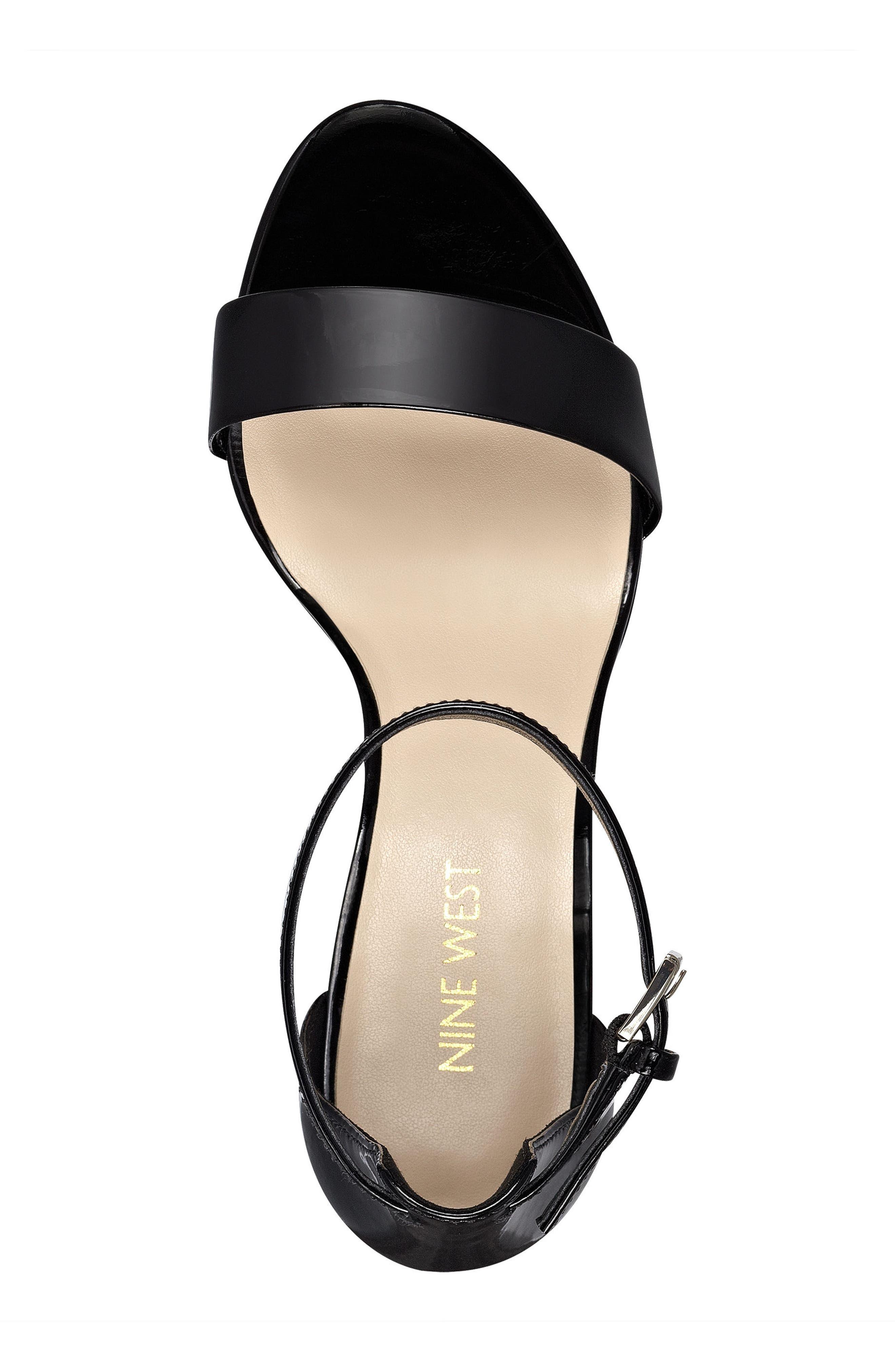 NINE WEST, Pruce Ankle Strap Sandal, Alternate thumbnail 5, color, BLACK PATENT