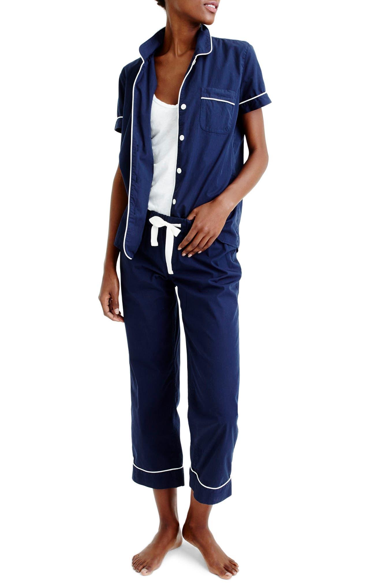 J.CREW Vintage Cotton Pajamas, Main, color, NAVY