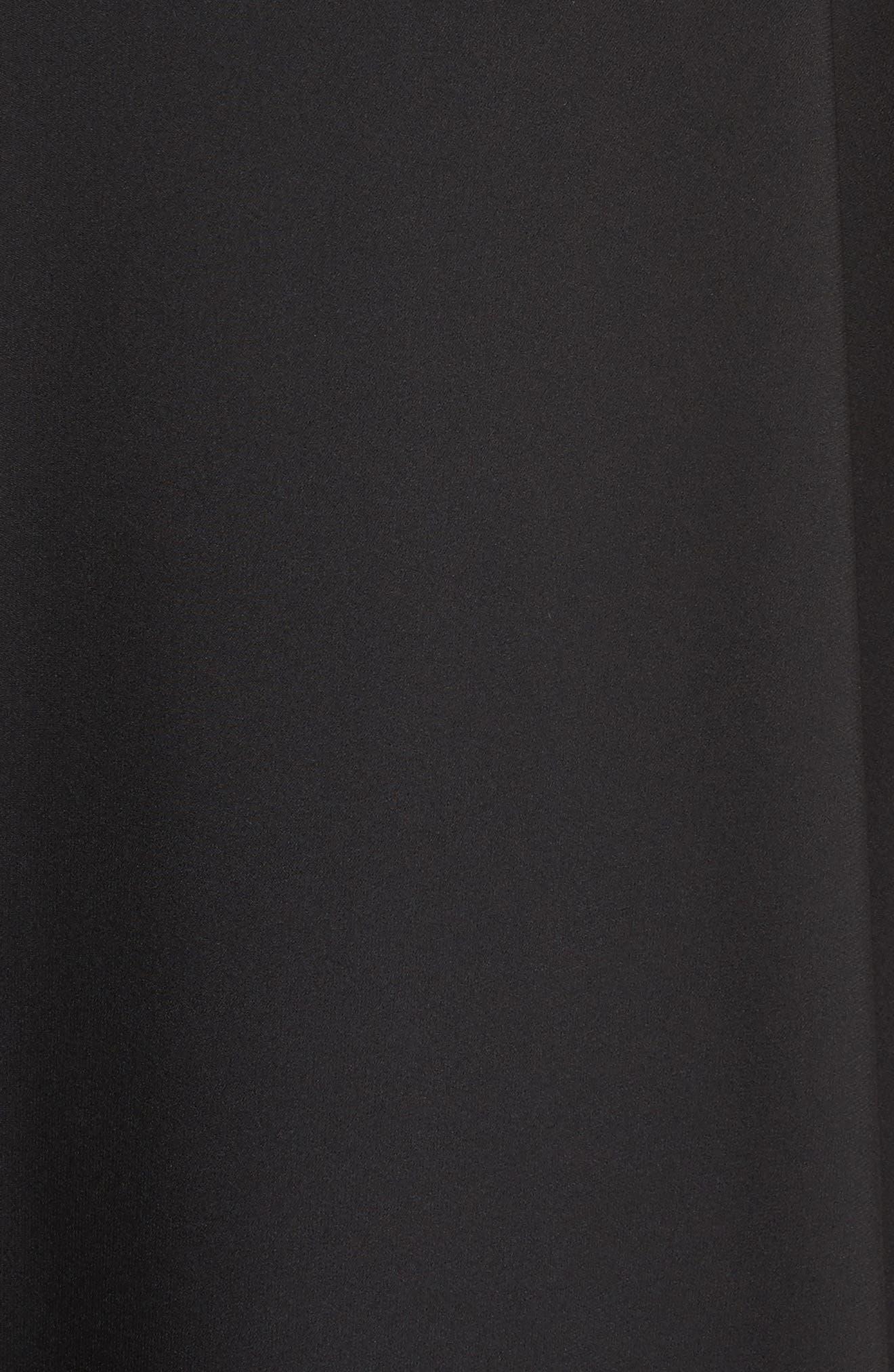 ST. JOHN COLLECTION, Double Silk Georgette Draped Dress, Alternate thumbnail 6, color, CAVIAR