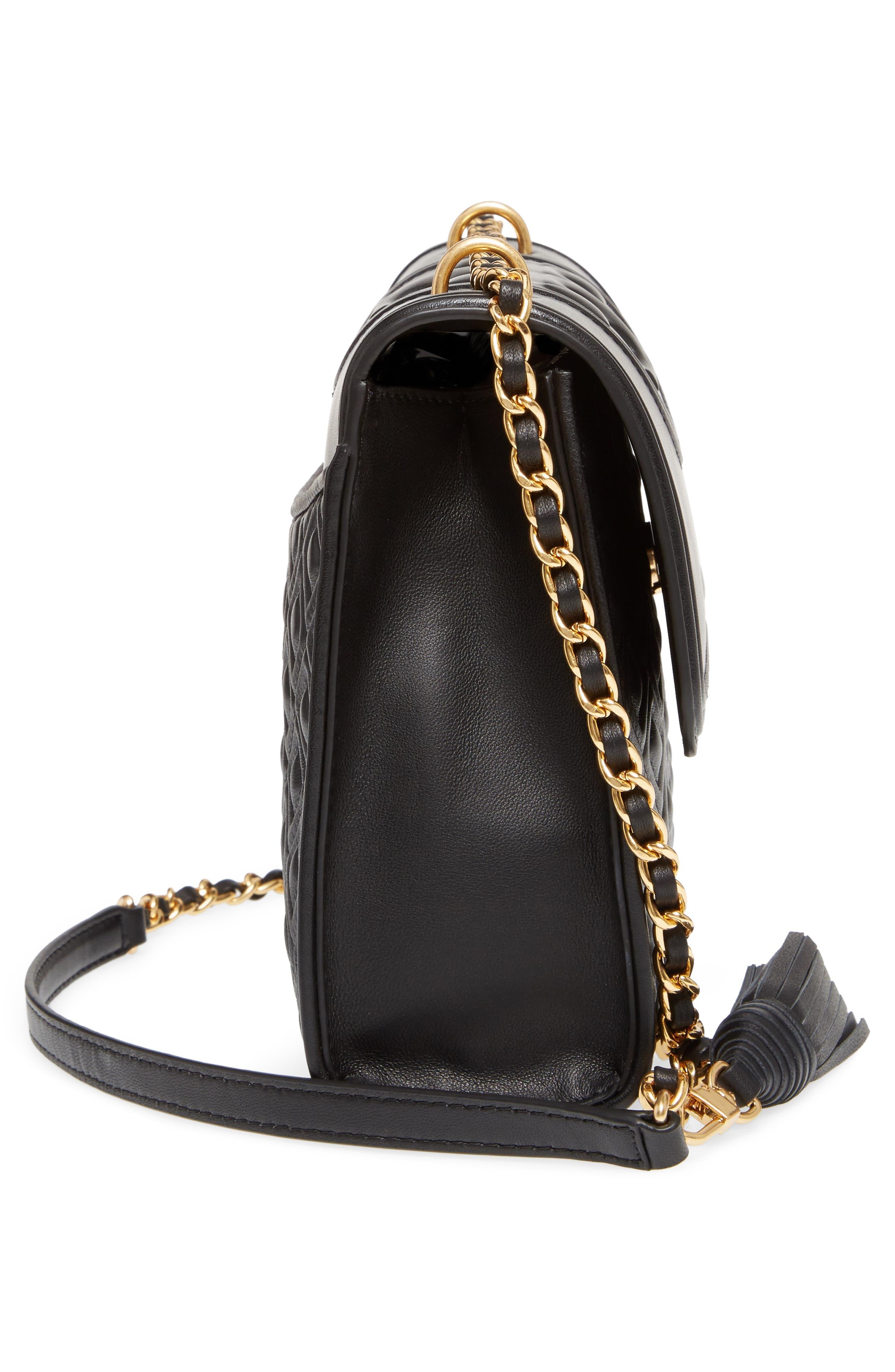 TORY BURCH, Fleming Leather Convertible Shoulder Bag, Alternate thumbnail 6, color, BLACK