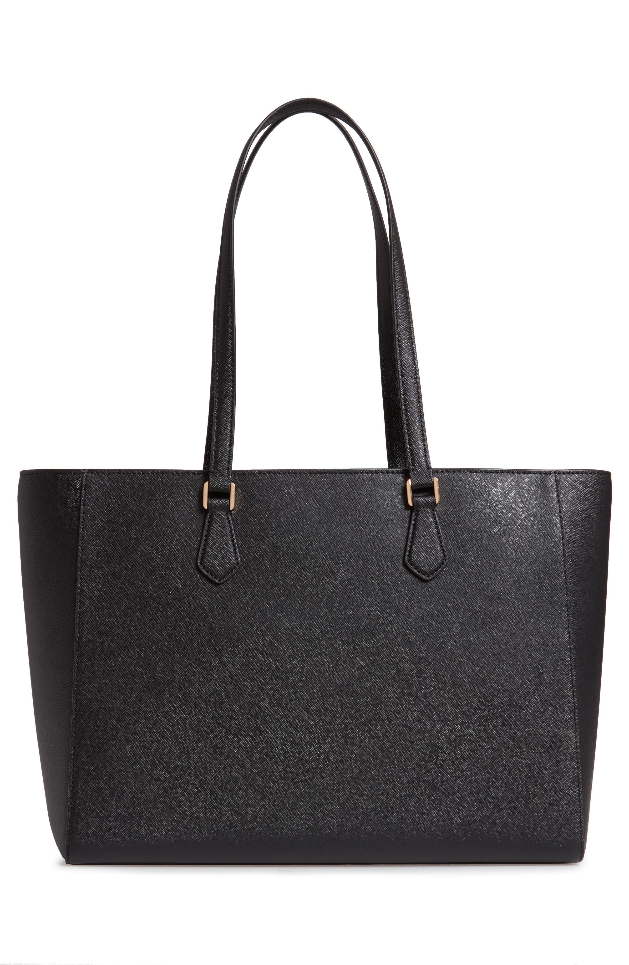 TORY BURCH, Robinson Saffiano Leather Tote, Alternate thumbnail 4, color, BLACK