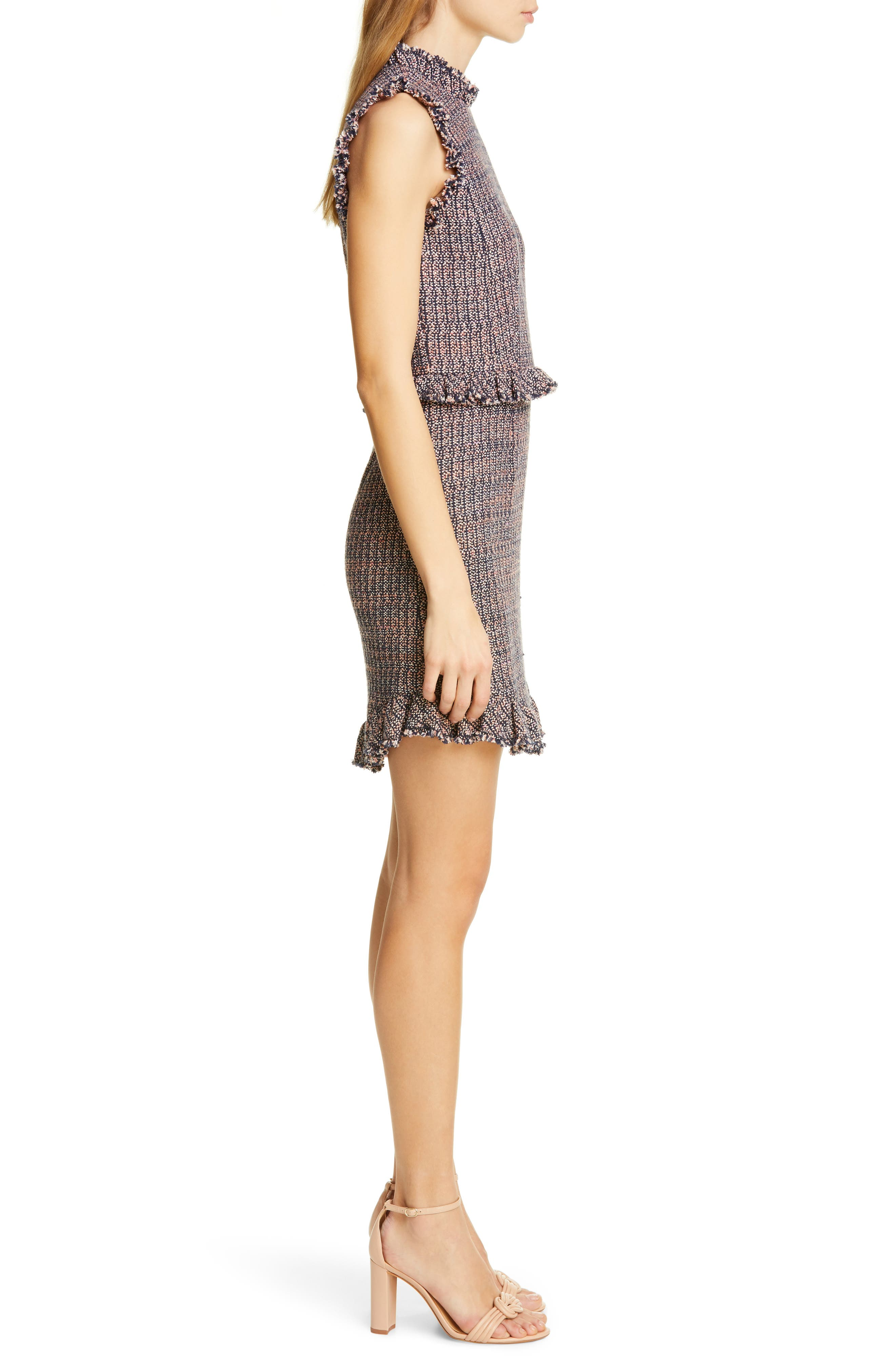 REBECCA TAYLOR, Frayed Ruffle Tweed Dress, Alternate thumbnail 4, color, PINK/ NAVY COMBO