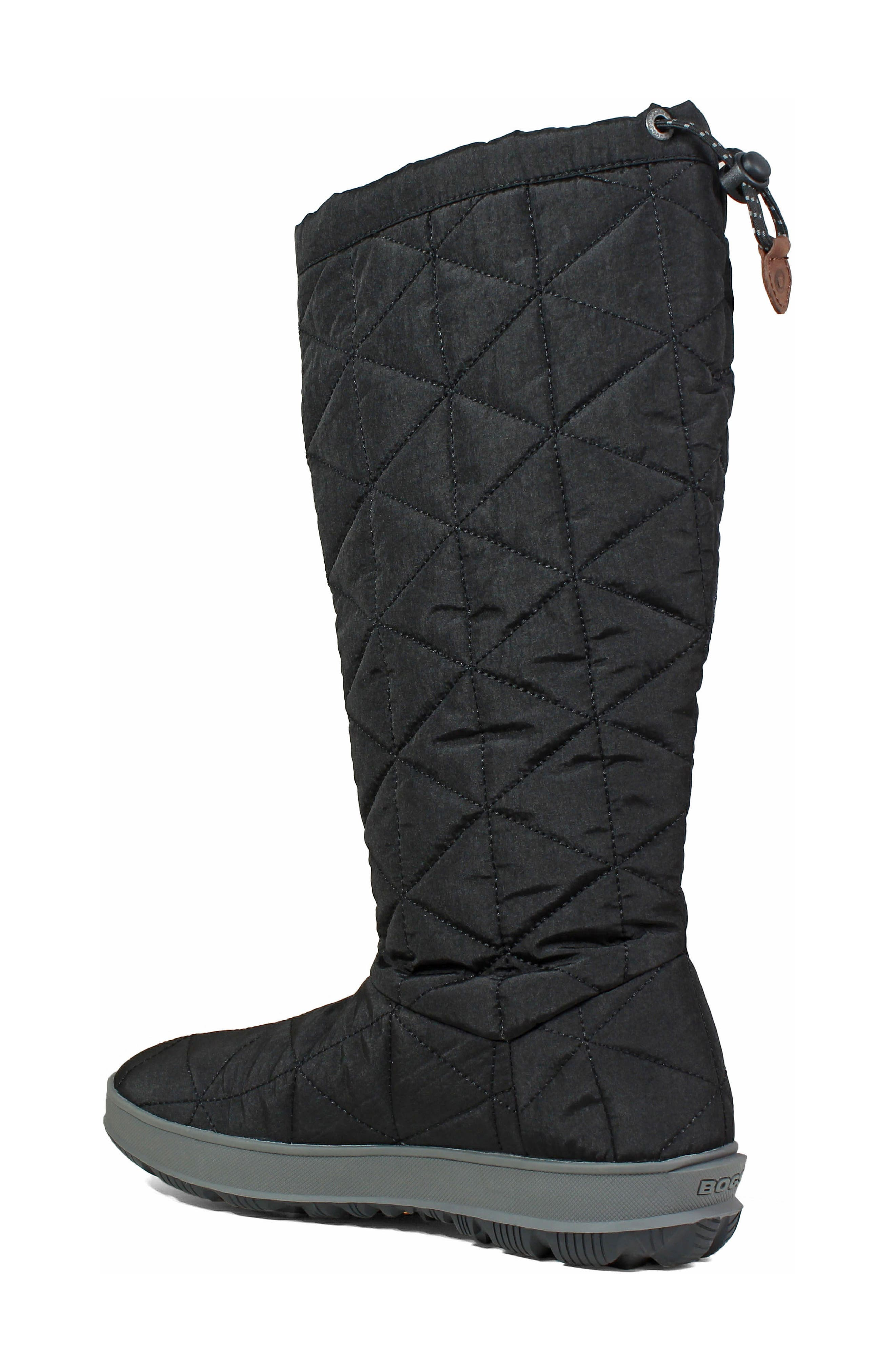 BOGS, Snowday Tall Waterproof Quilted Snow Boot, Alternate thumbnail 2, color, BLACK