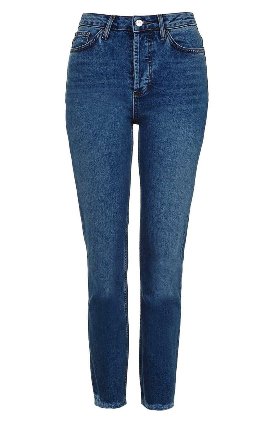 TOPSHOP, Raw Hem Straight Leg Jeans, Alternate thumbnail 4, color, 401