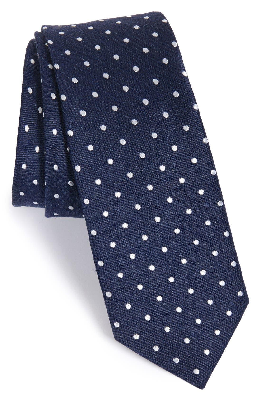 THE TIE BAR, Dot Silk & Linen Tie, Main thumbnail 1, color, NAVY