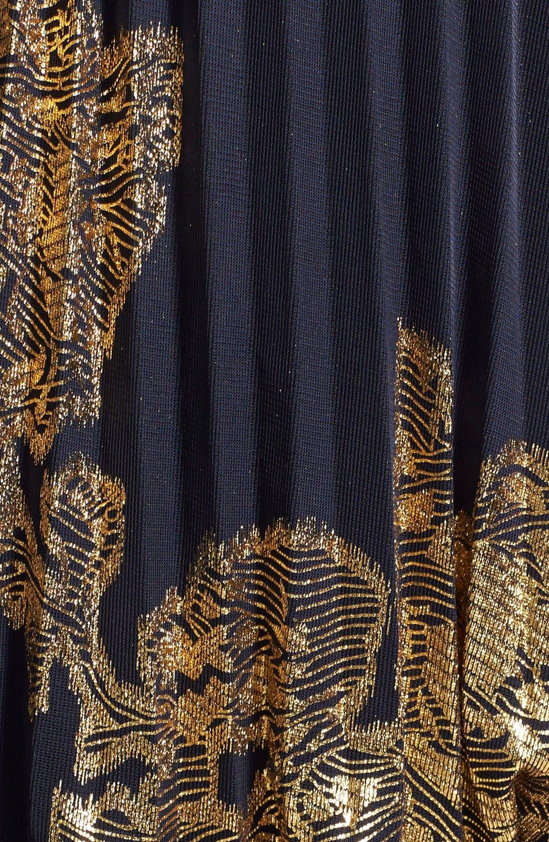 XSCAPE, Foiled Blouson Gown, Alternate thumbnail 3, color, 409