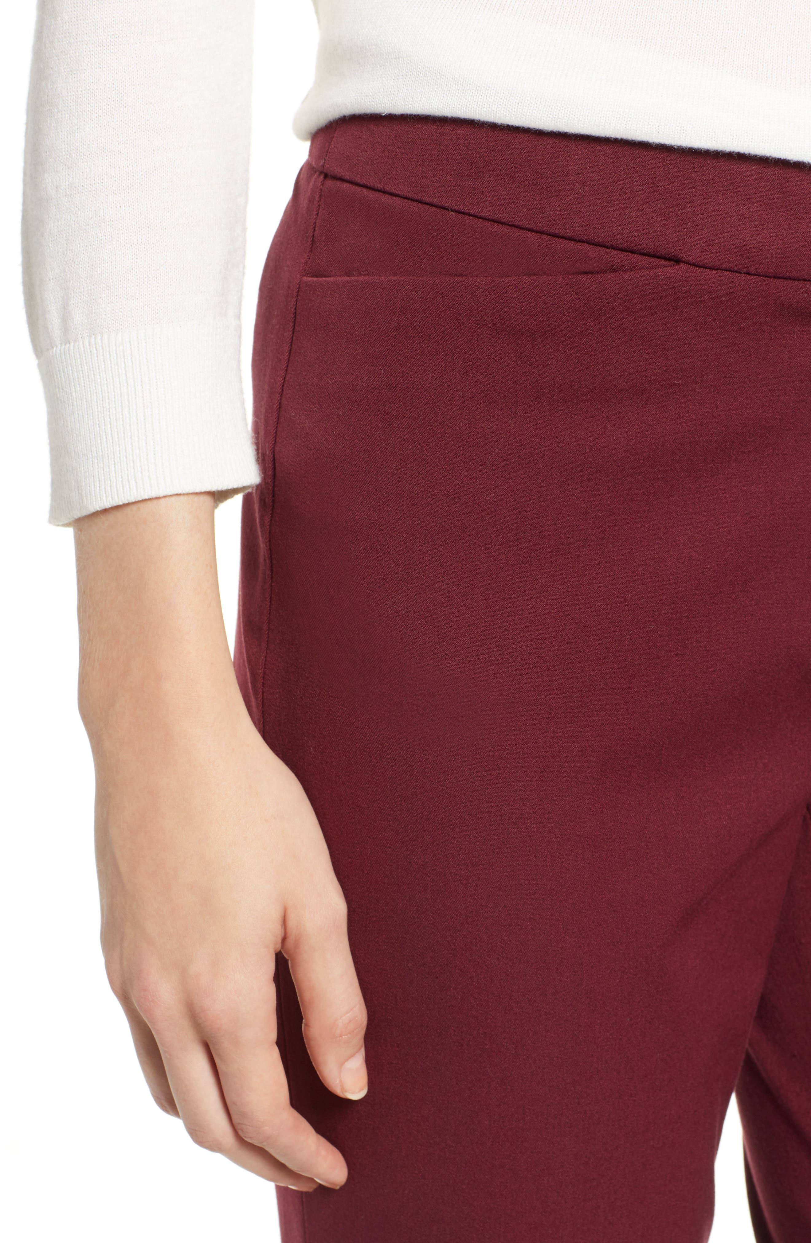 HALOGEN<SUP>®</SUP>, Ankle Pants, Alternate thumbnail 5, color, RED TANNIN