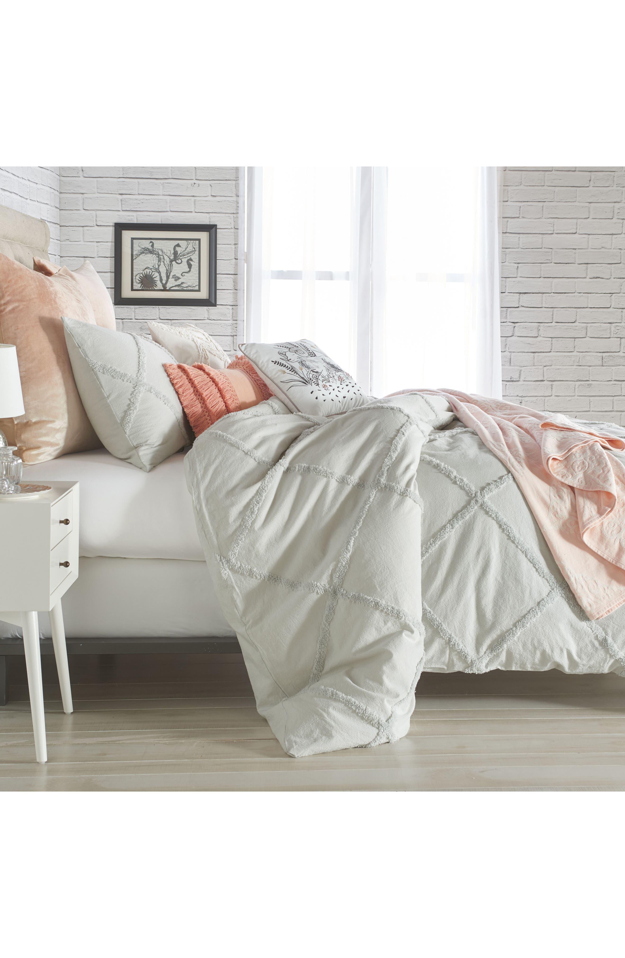 PERI HOME, Chenille Lattice Comforter Set, Alternate thumbnail 2, color, GREY