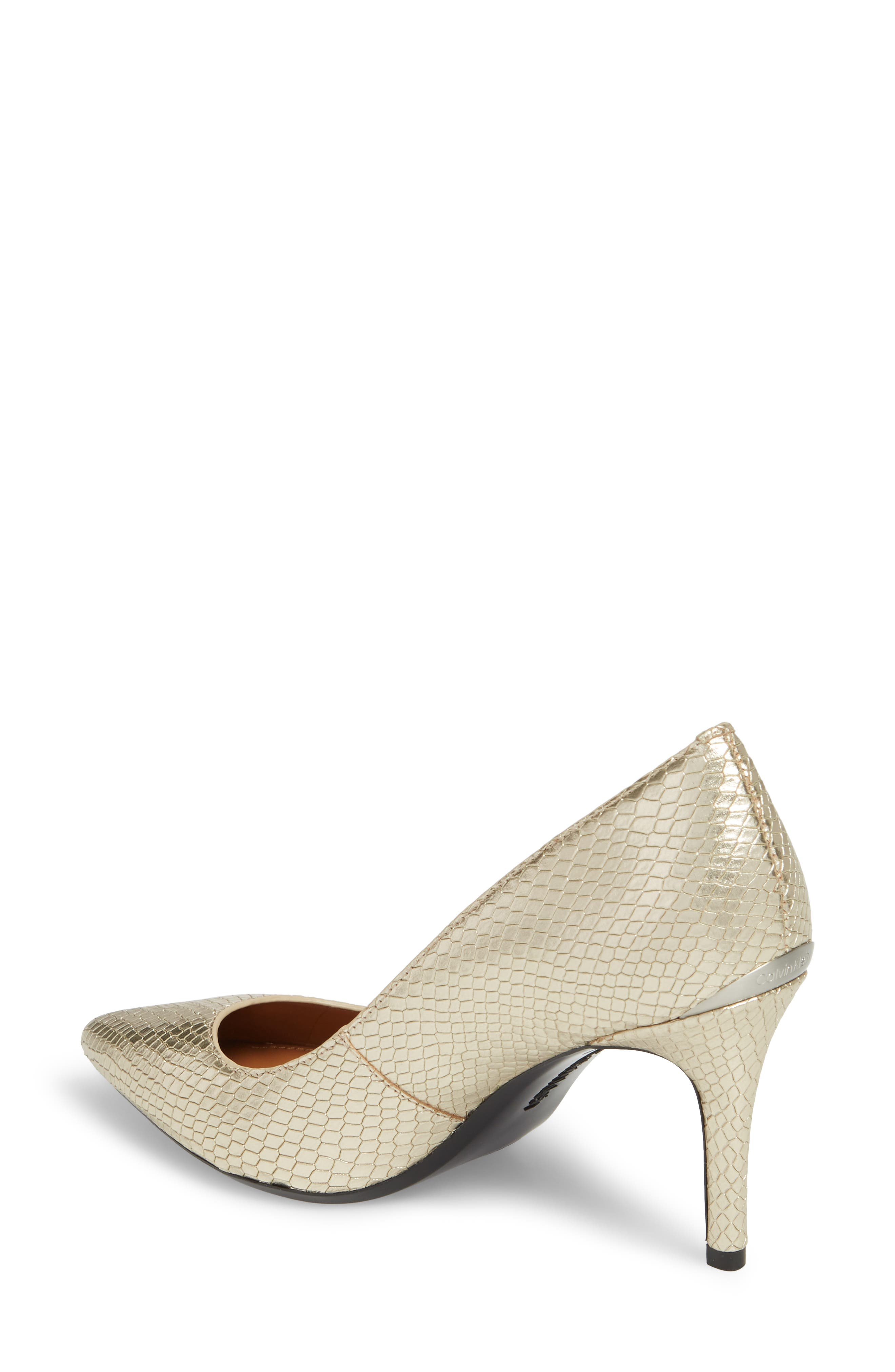 CALVIN KLEIN, 'Gayle' Pointy Toe Pump, Alternate thumbnail 2, color, SOFT GOLD LEATHER