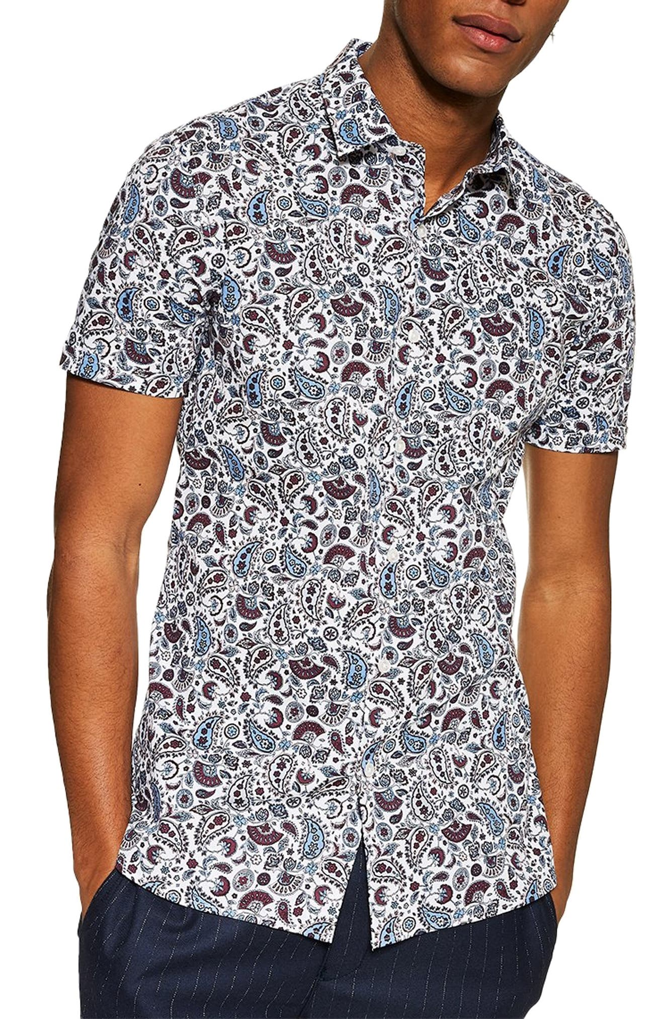 TOPMAN, Paisley Print Slim Fit Shirt, Main thumbnail 1, color, BLUE MULTI