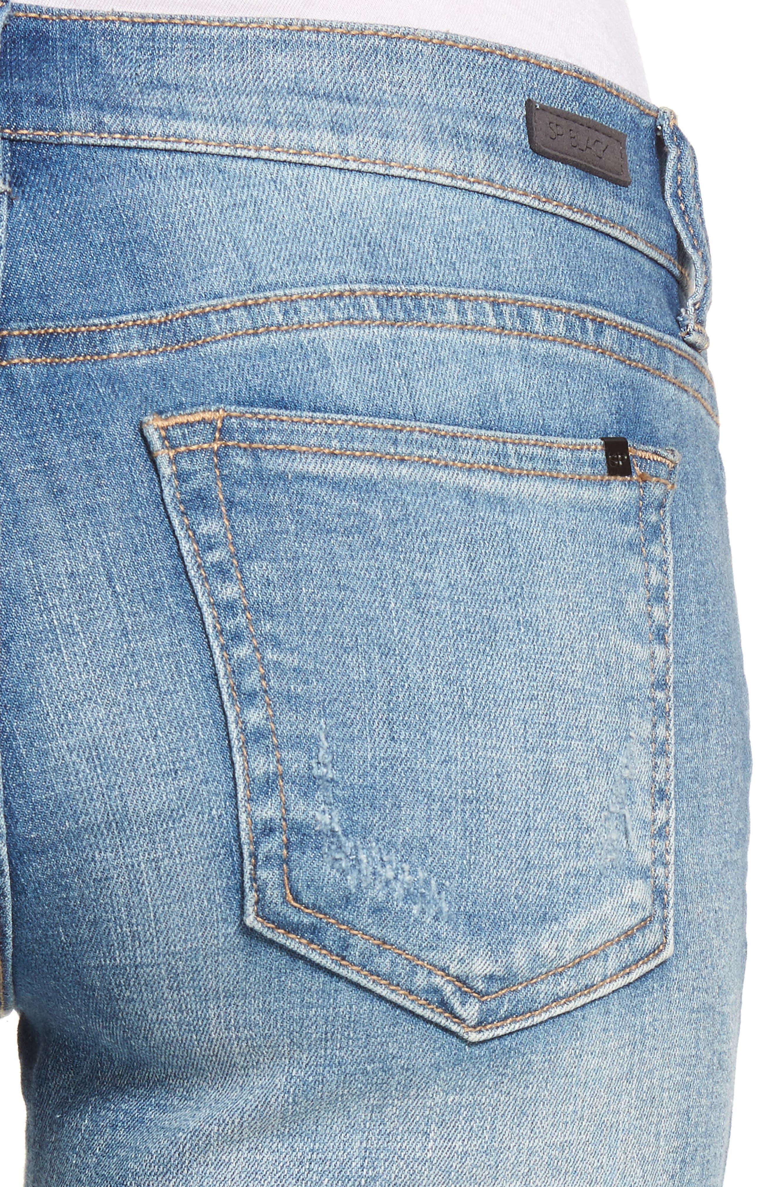 SP BLACK, Ripped Knee Skinny Jeans, Alternate thumbnail 5, color, 400
