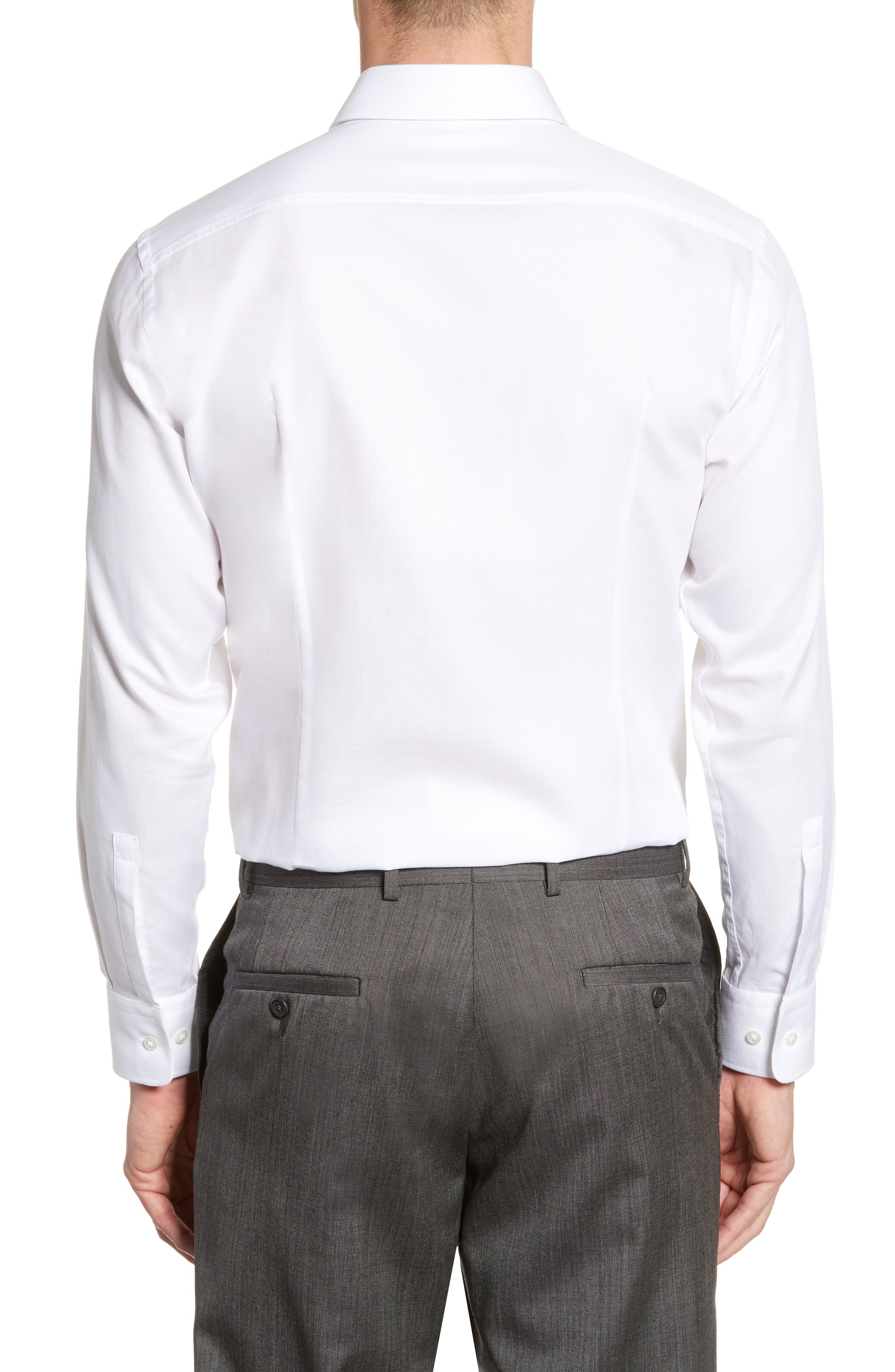 BOSS, Marley Sharp Fit Dress Shirt, Alternate thumbnail 3, color, WHITE