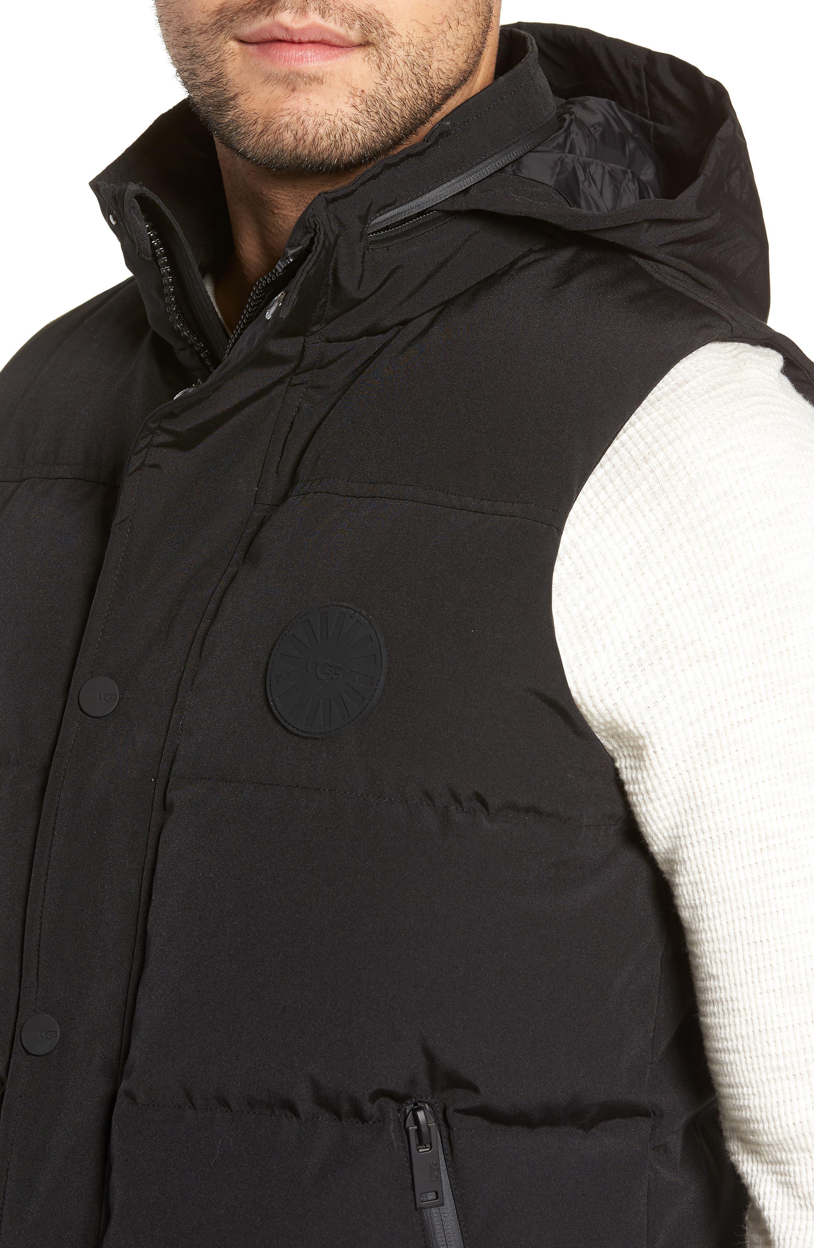 UGG<SUP>®</SUP>, Nathaniel Down Vest, Alternate thumbnail 5, color, BLACK