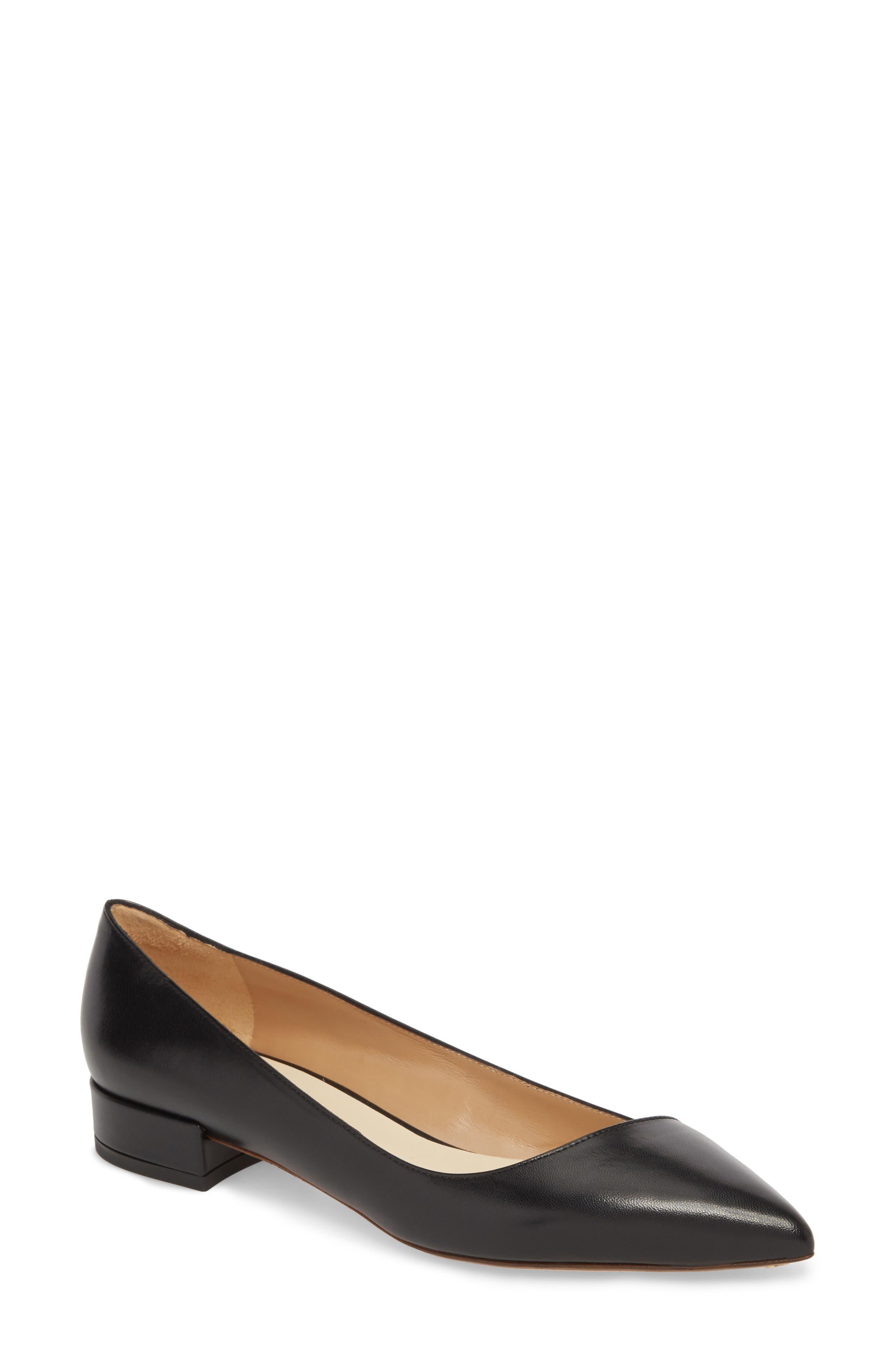 FRANCESCO RUSSO Asymmetric Pointy Toe Flat, Main, color, BLACK