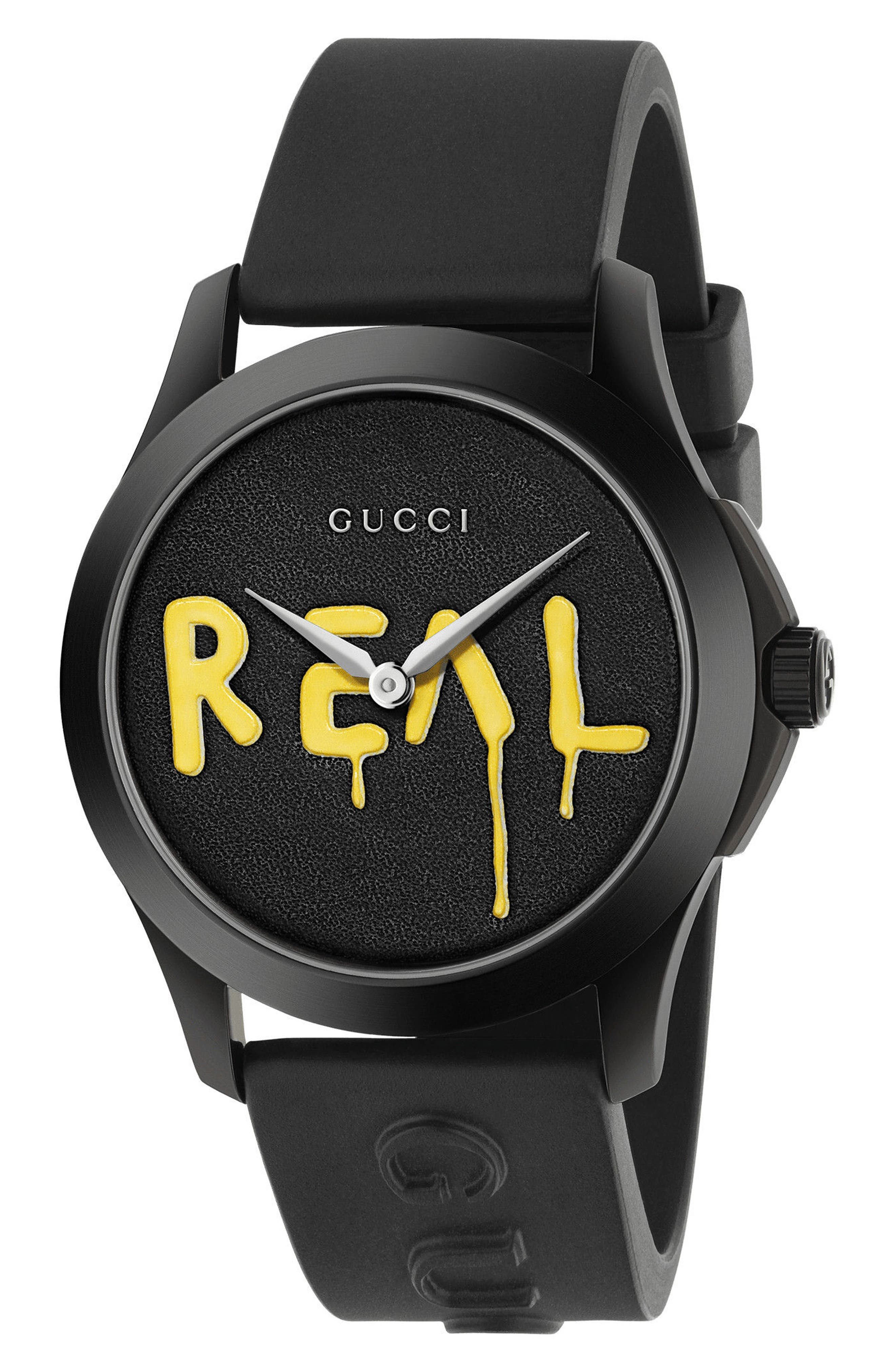 GUCCI, Real Rubber Strap Watch, 38mm, Main thumbnail 1, color, BLACK