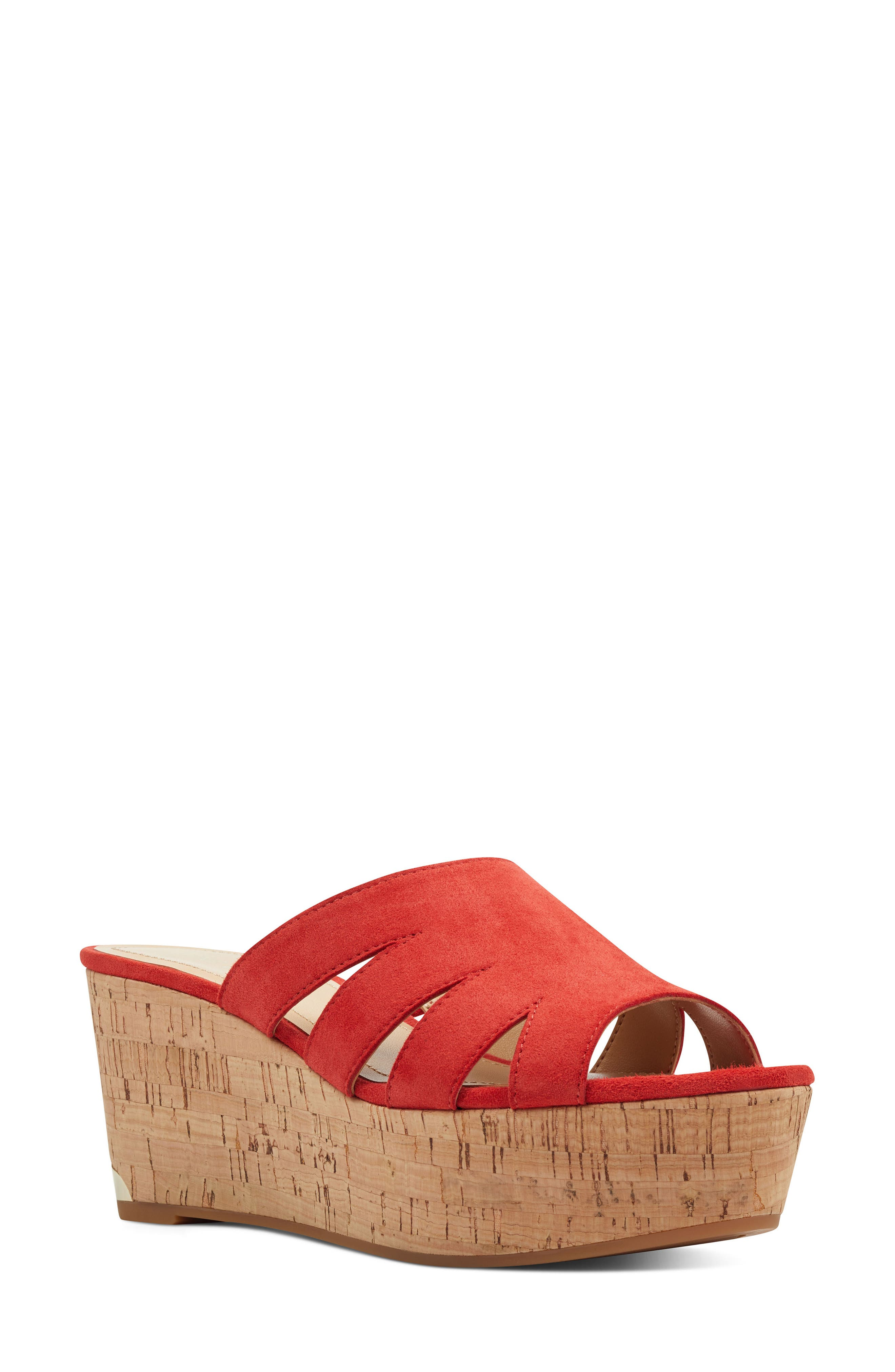 Nine West Victoria Cutout Wedge Slide Sandal, Red