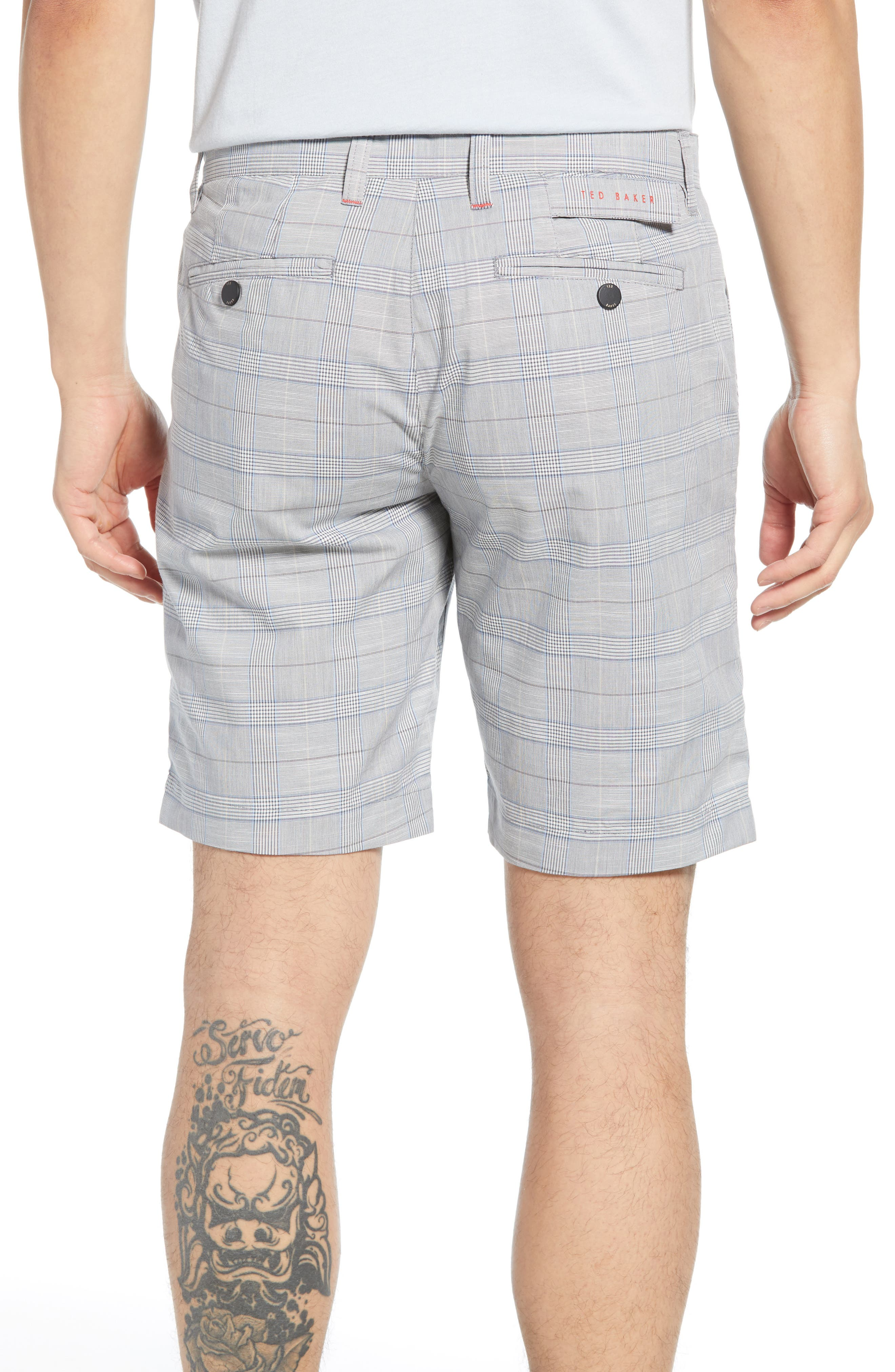 TED BAKER LONDON, Easiee Slim Fit Check Golf Shorts, Alternate thumbnail 2, color, GREY