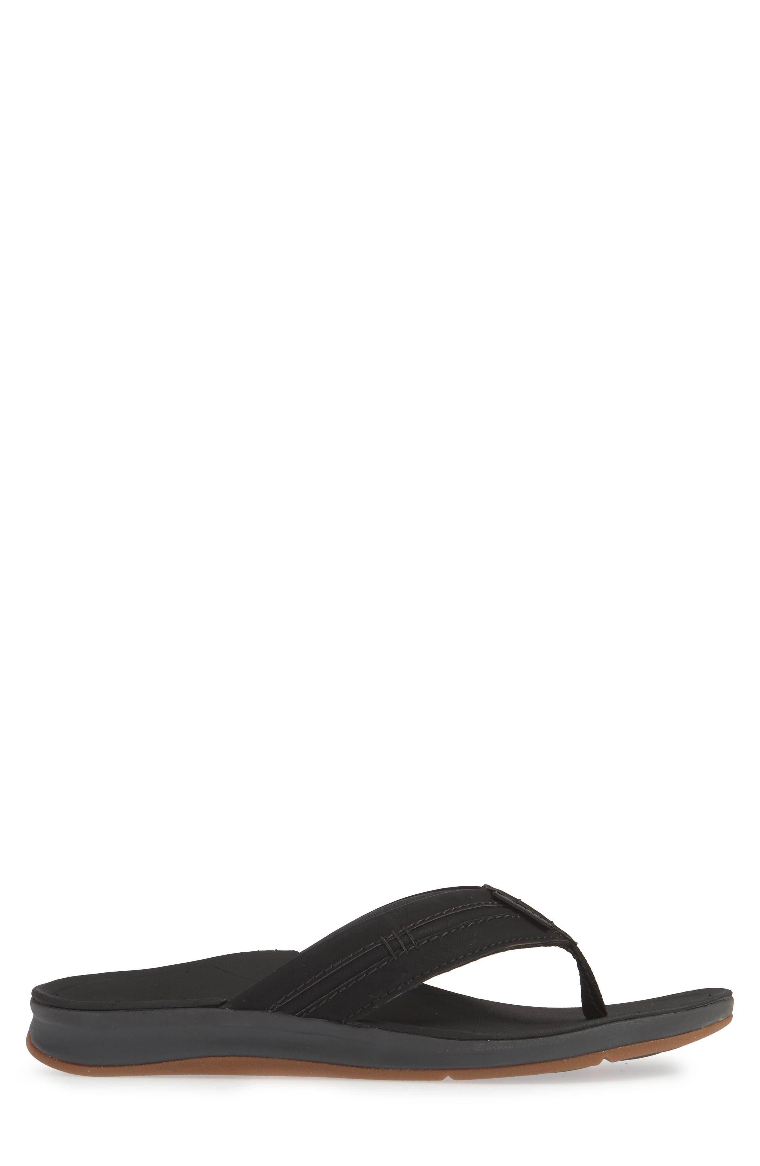 REEF, Ortho Bounce Coast Flip Flop, Alternate thumbnail 3, color, BLACK