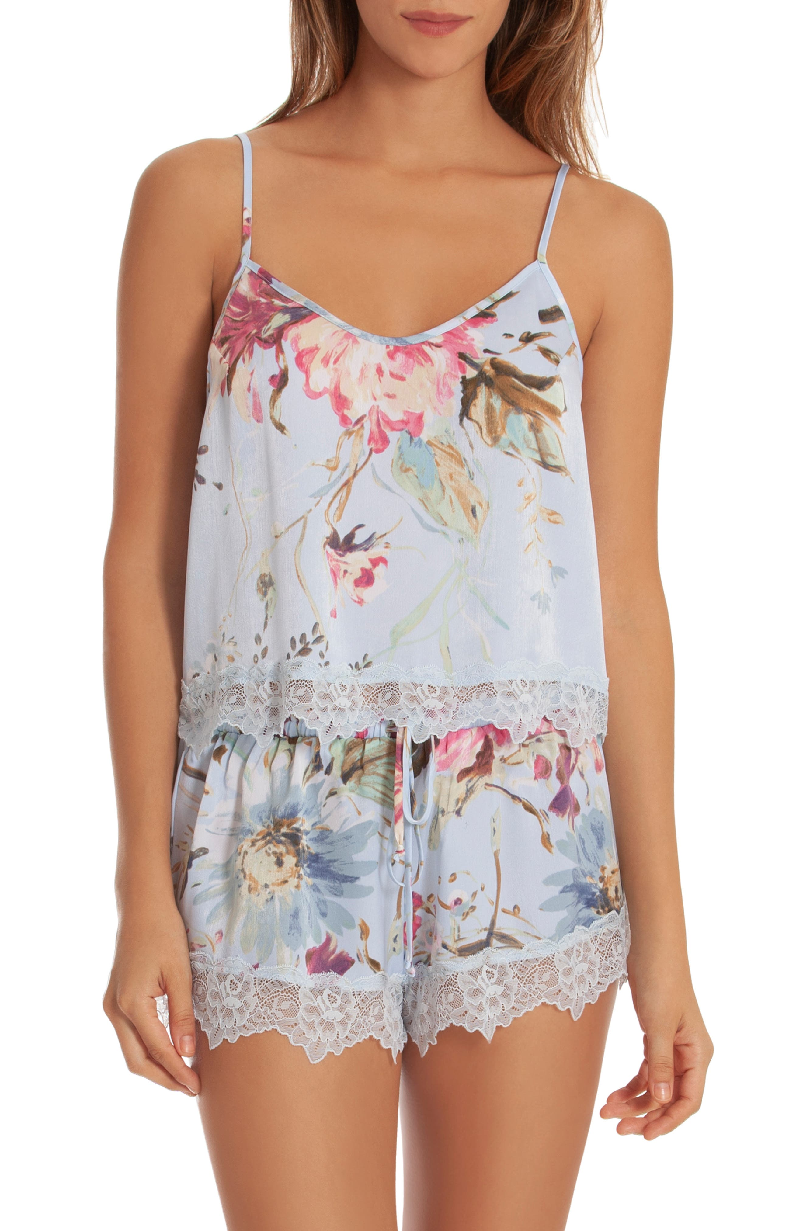 IN BLOOM BY JONQUIL Chiffon Short Pajamas, Main, color, BLUE ROSE PRINT