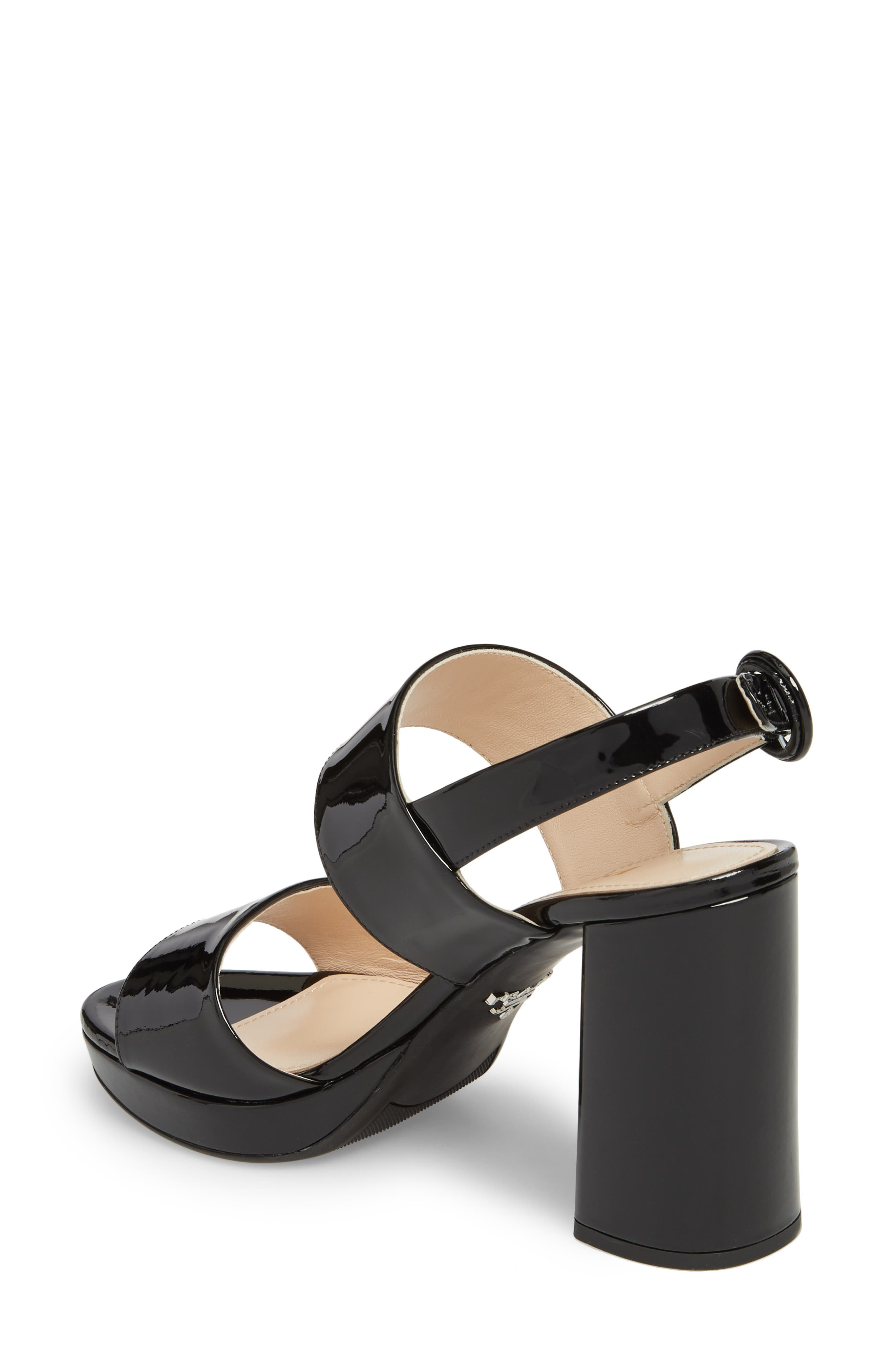 PRADA, Slingback Platform Sandal, Alternate thumbnail 2, color, BLACK PATENT