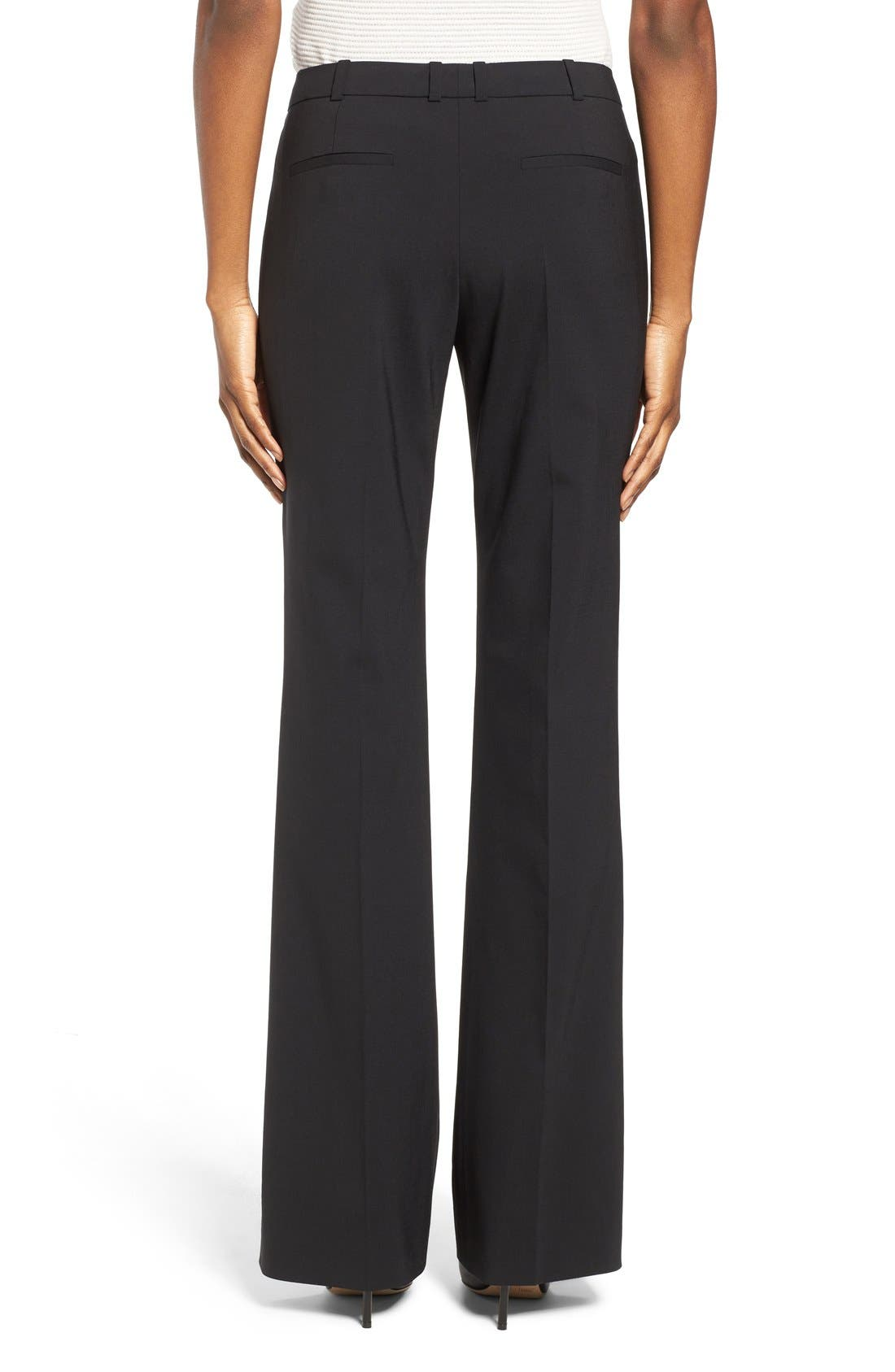BOSS, Tulea3 Tropical Stretch Wool Trousers, Alternate thumbnail 4, color, BLACK