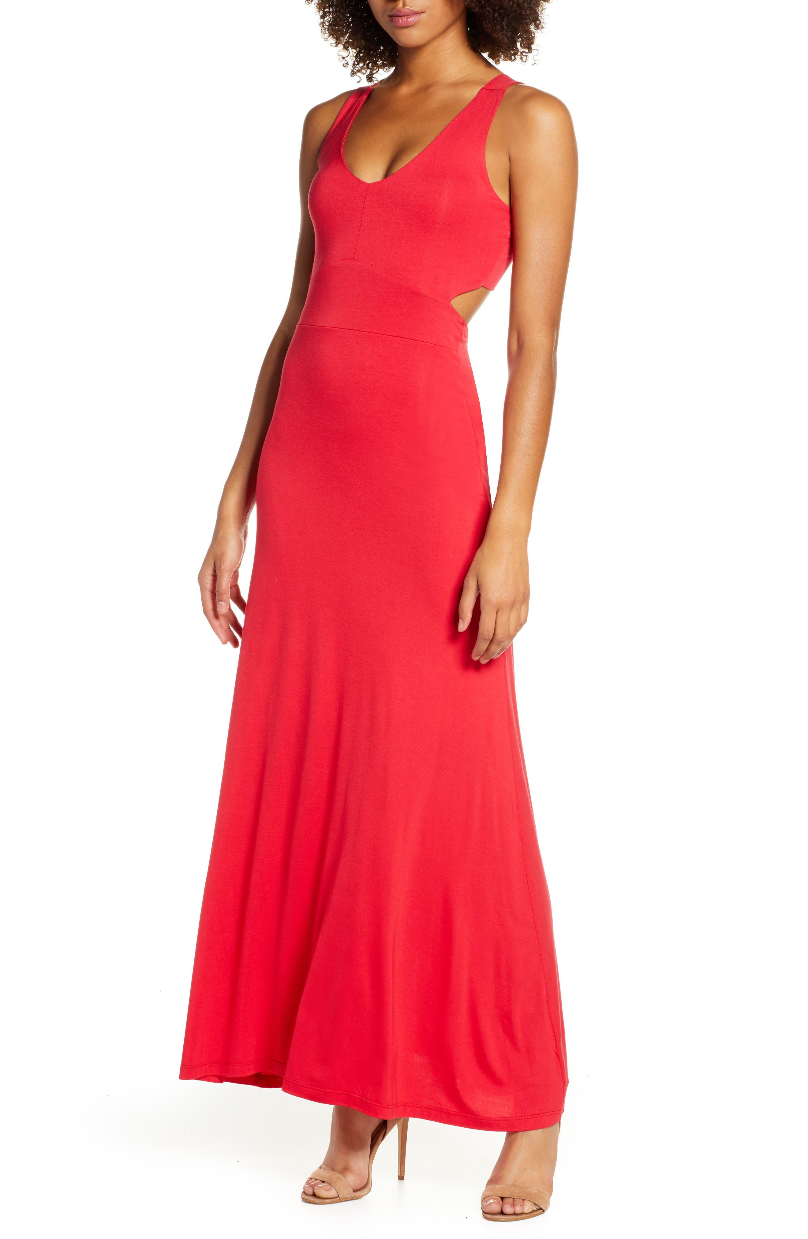 Fraiche By J Open Back Maxi Dress, Regular - Red