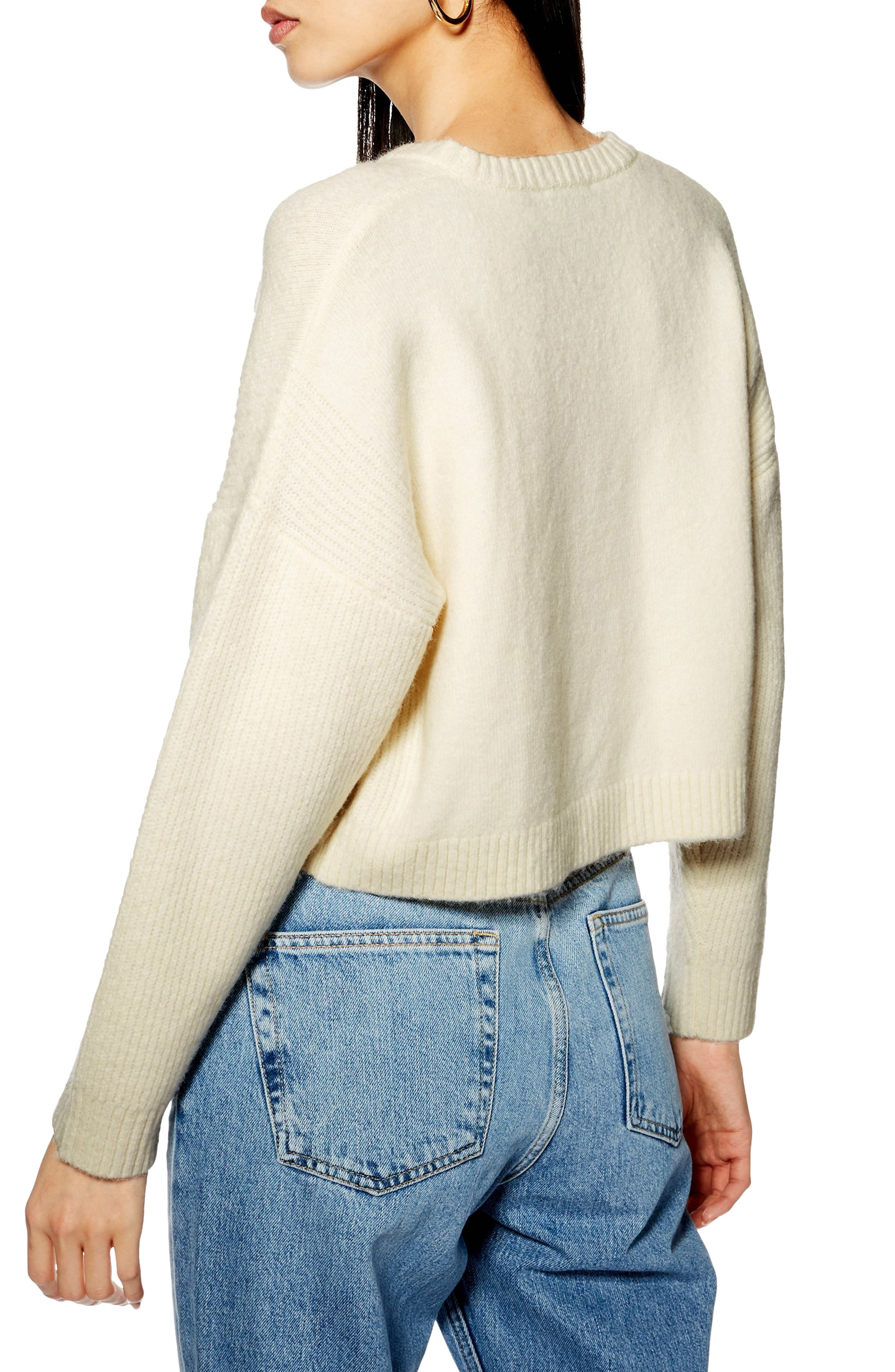 TOPSHOP, Stretch Chevron Ribbed Sweater, Alternate thumbnail 2, color, 900