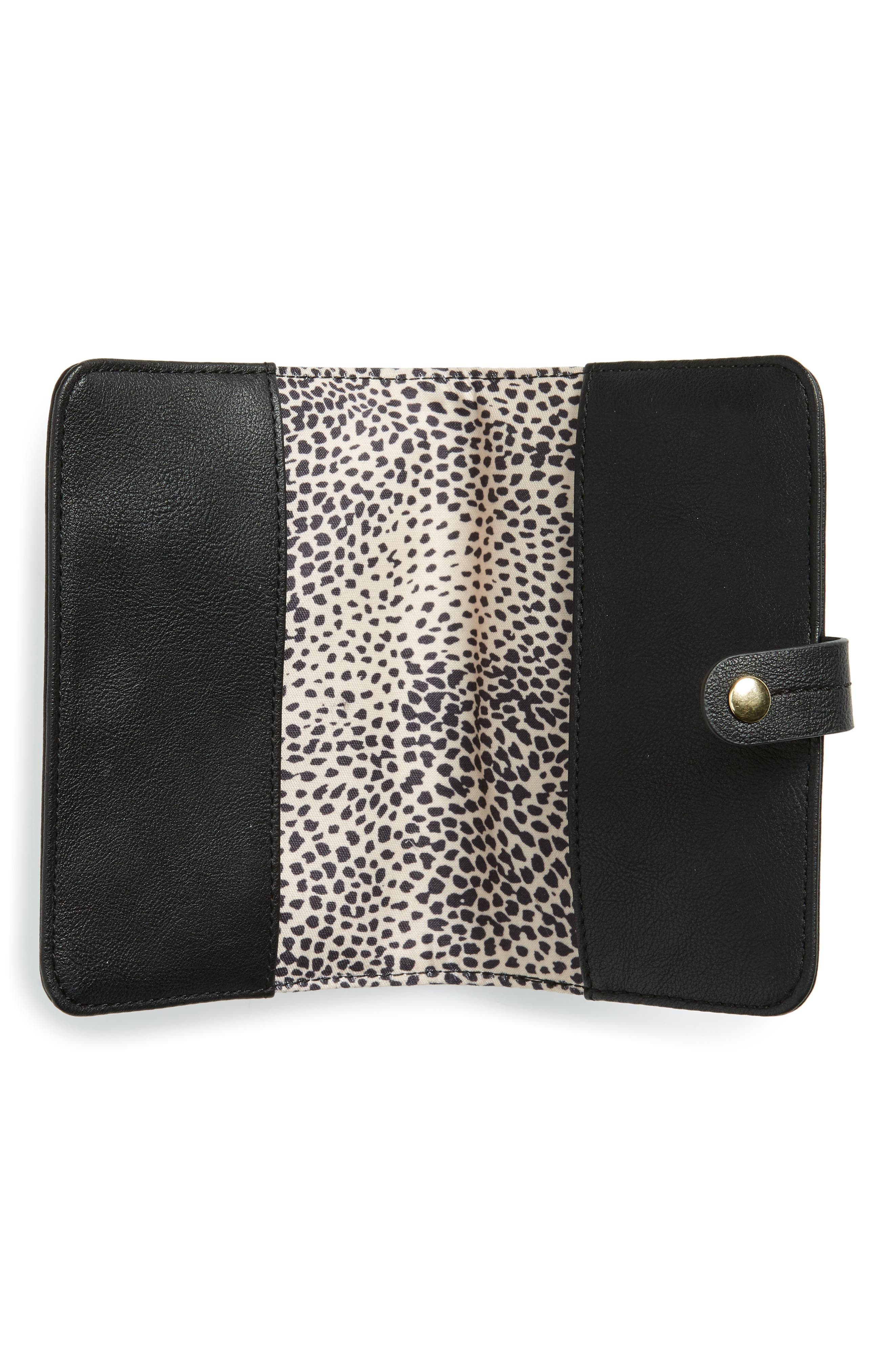 SOLE SOCIETY, Faux Leather Passport Case & Luggage Tag Set, Alternate thumbnail 2, color, BLACK