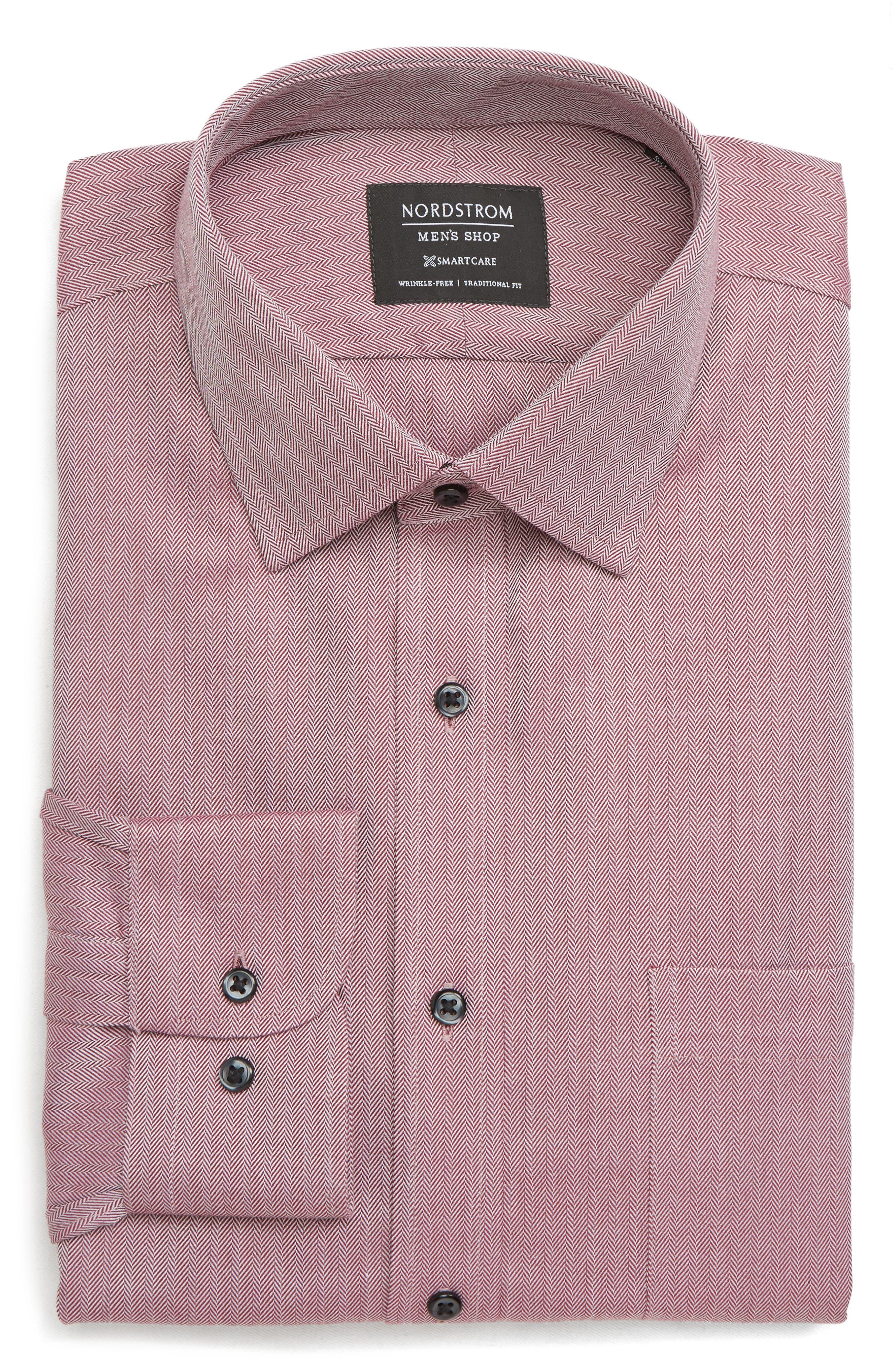 NORDSTROM MEN'S SHOP, Smartcare<sup>™</sup> Traditional Fit Herringbone Dress Shirt, Alternate thumbnail 5, color, BURGUNDY ROYALE
