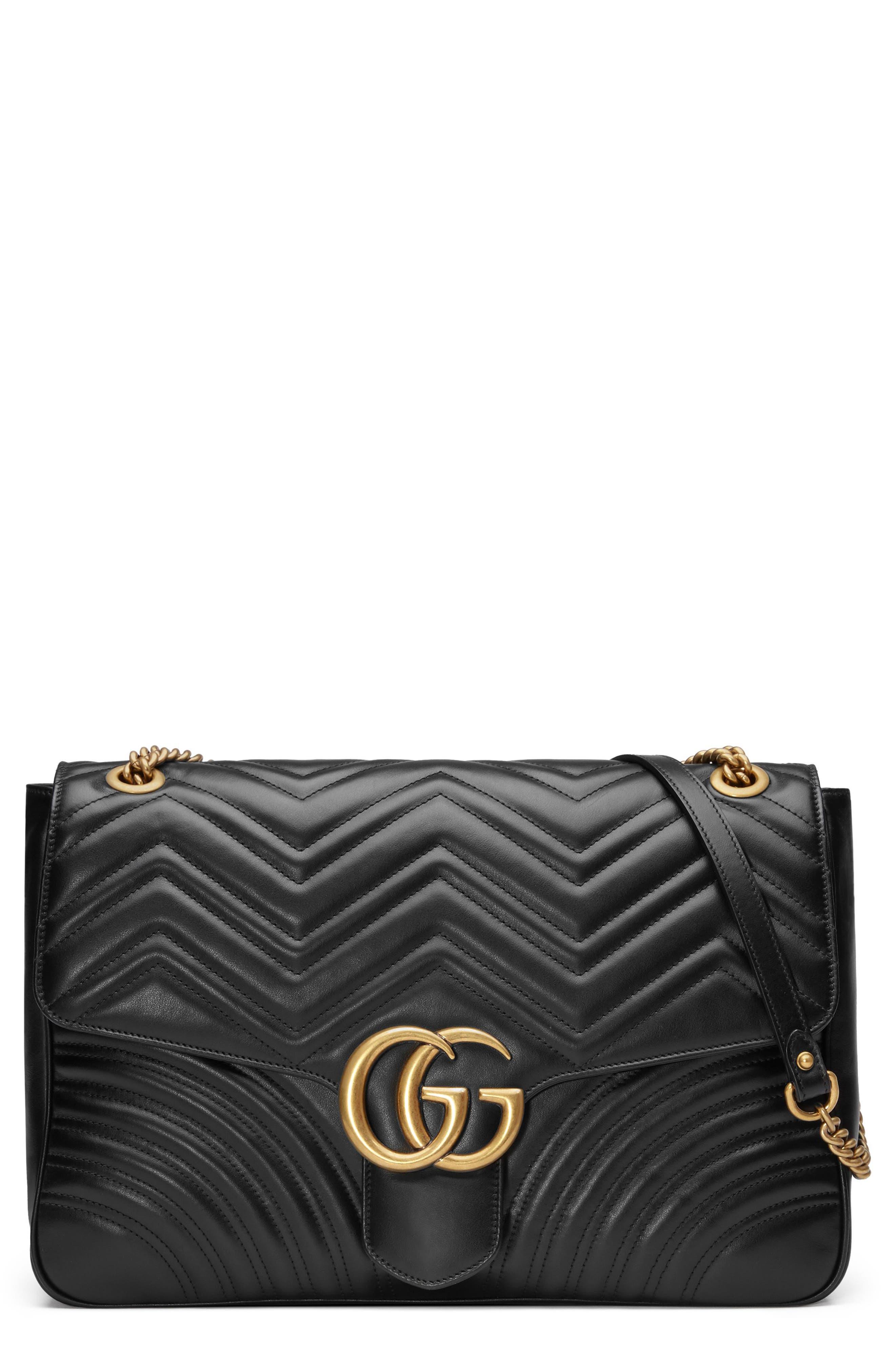 GUCCI, GG Large Marmont 2.0 Matelassé Leather Shoulder Bag, Main thumbnail 1, color, NERO